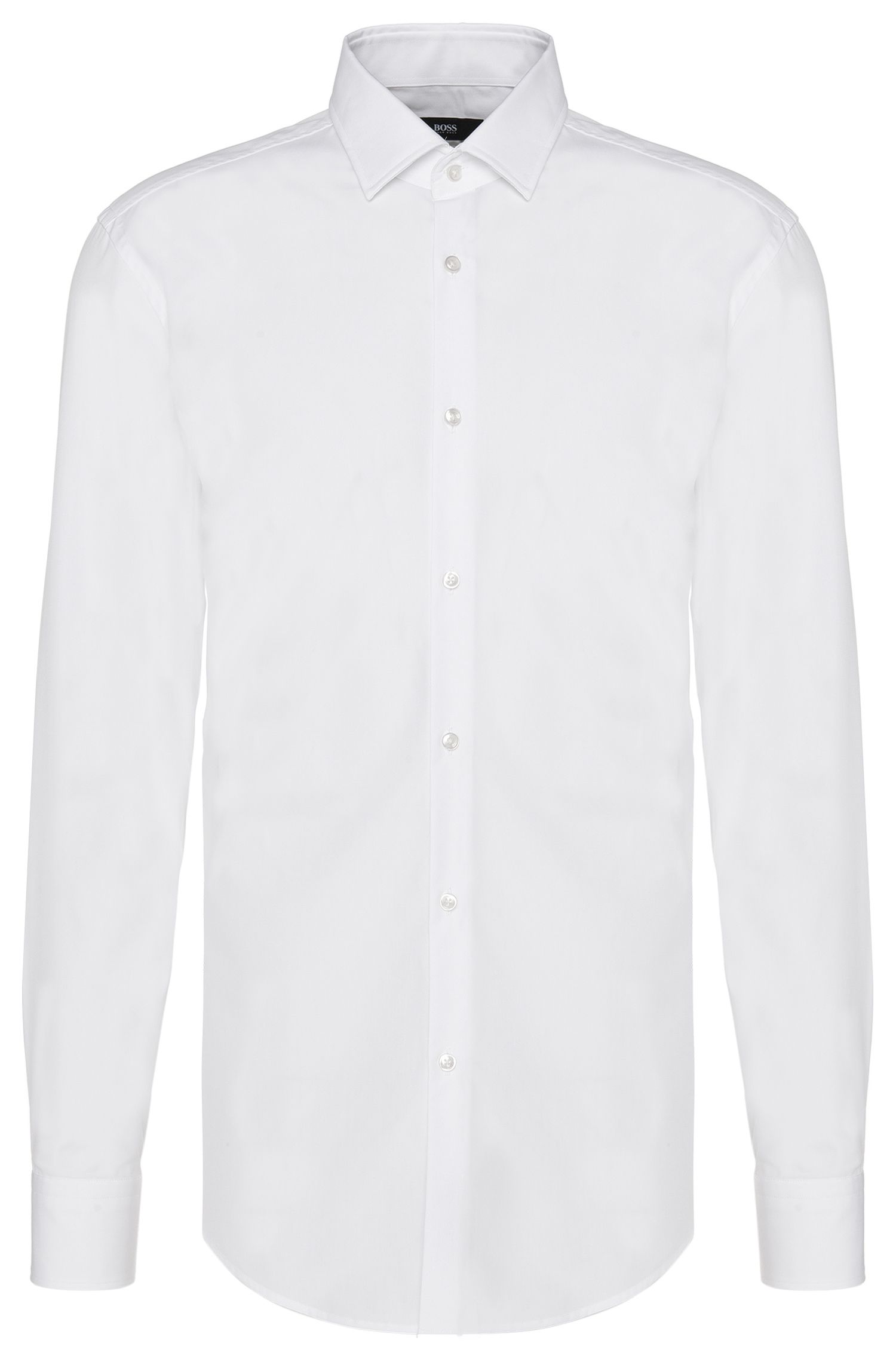 Plain slim-fit cotton shirt: 'Jenno'