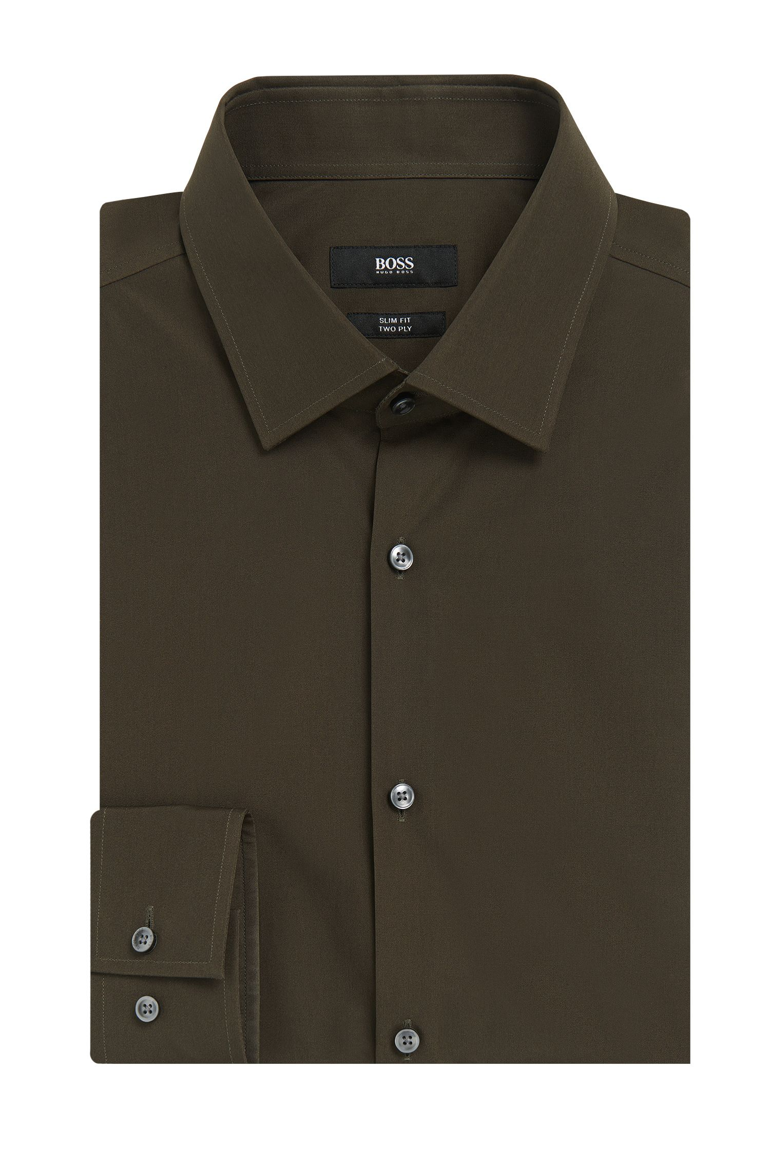 Camisa lisa slim fit en algodón: 'Jenno'