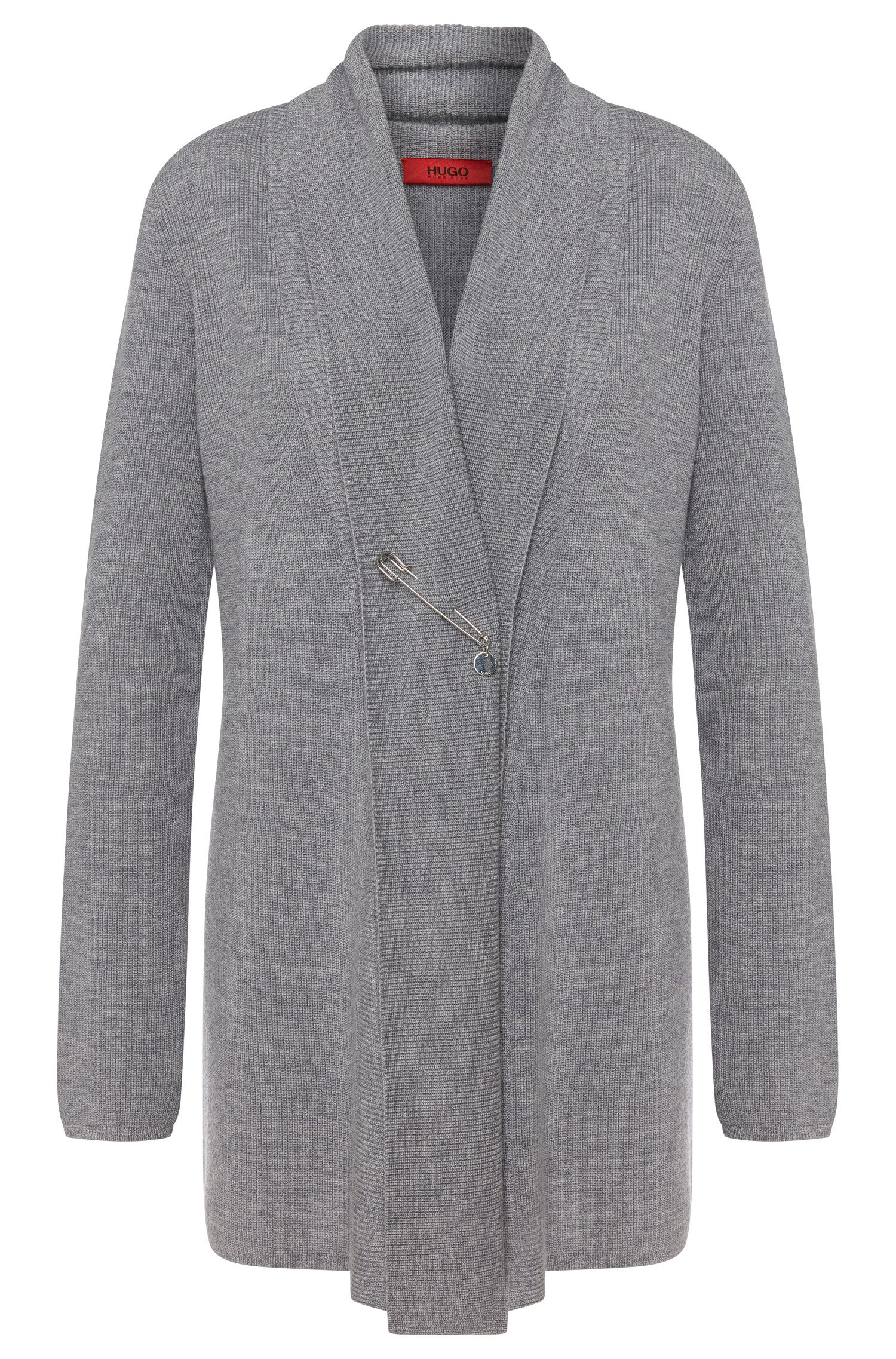 Cardigan in new-wool blend with cashmere and long hem slits: 'Severa'