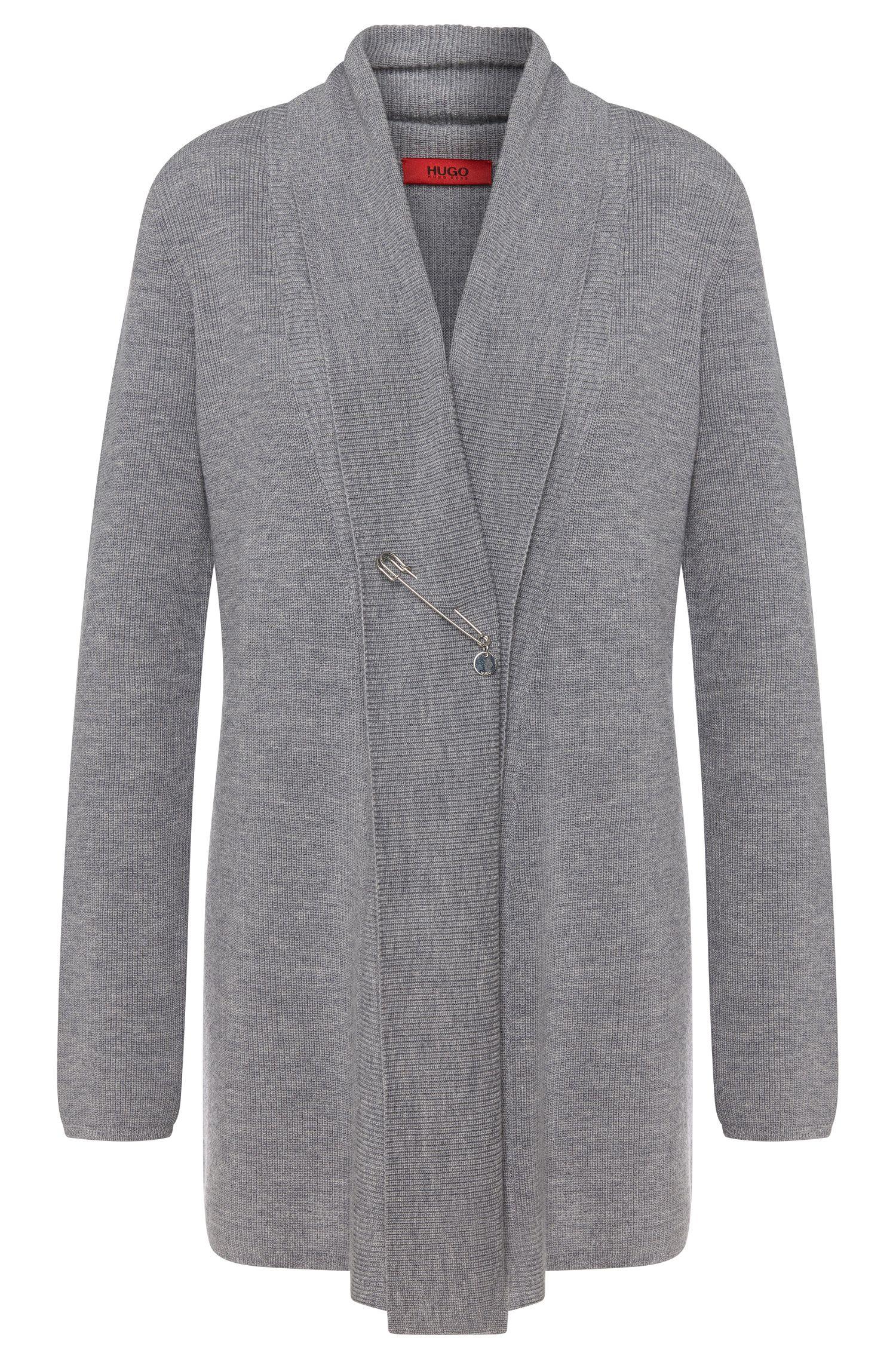 Veste en maille en laine vierge mélangée à teneur en cachemire et à longues fentes à la base: «Severa»