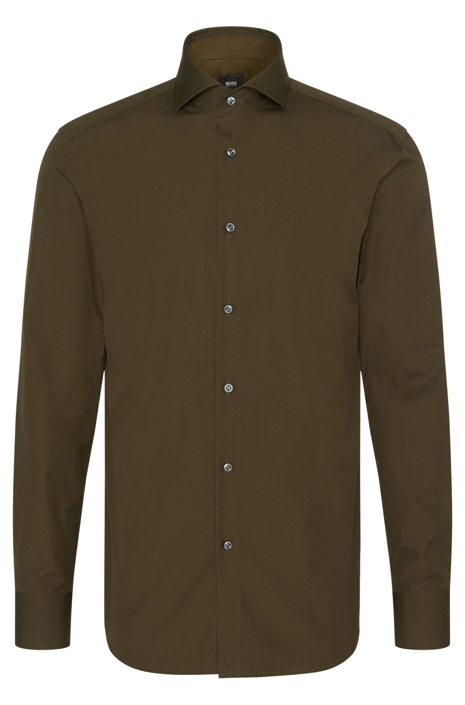 Plain-coloured slim-fit Tailored shirt in cotton: 'T-Christo'