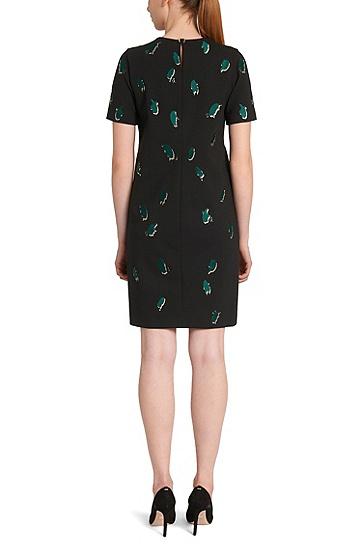 Kleid aus elastischem Viskose-Mix mit Intarsien: 'Evasia', Schwarz