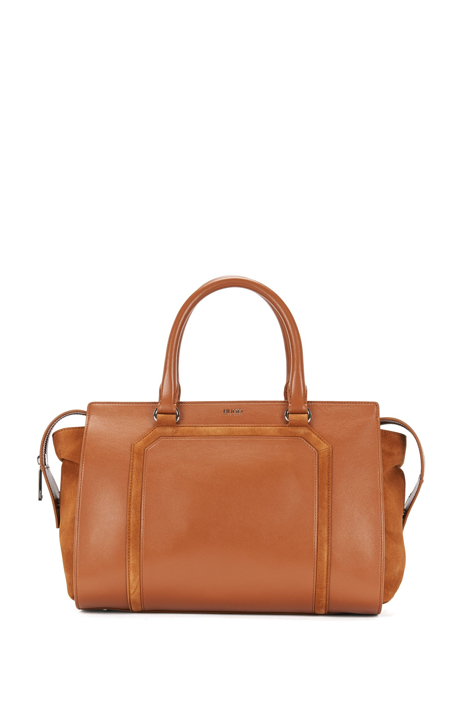 Leather shopper in a mixture of textures: 'Fania'