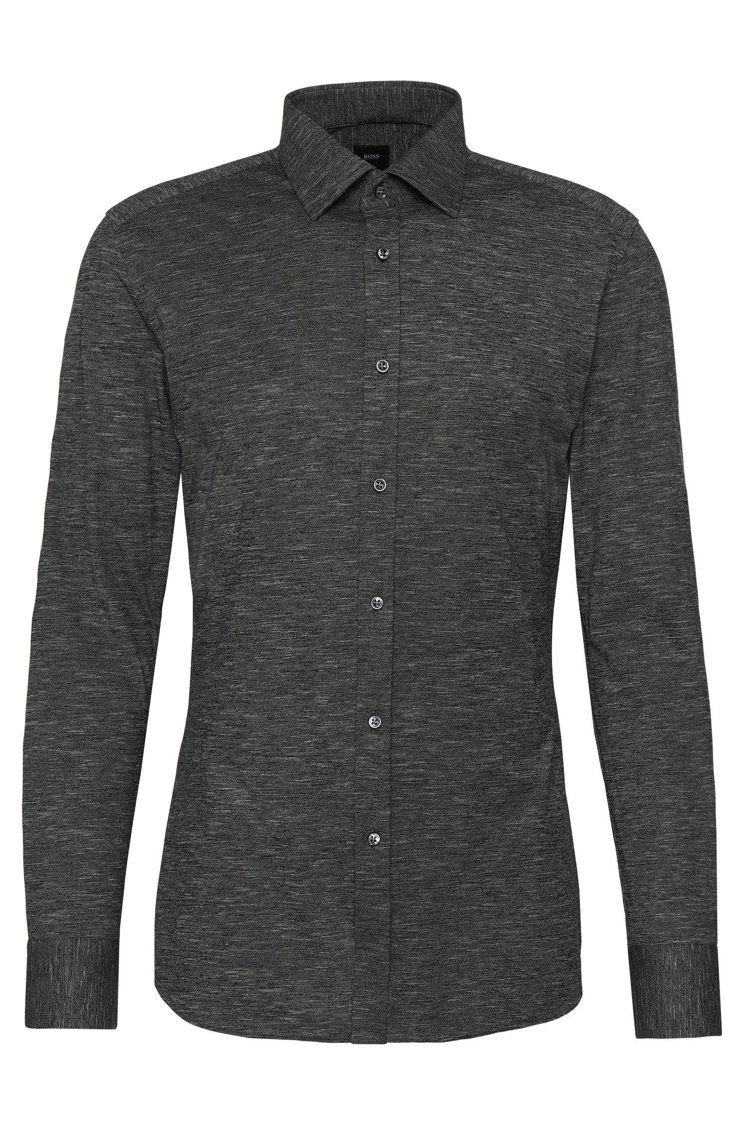 Chemise Slim Fit Tailored en coton chiné : « T-Shane »