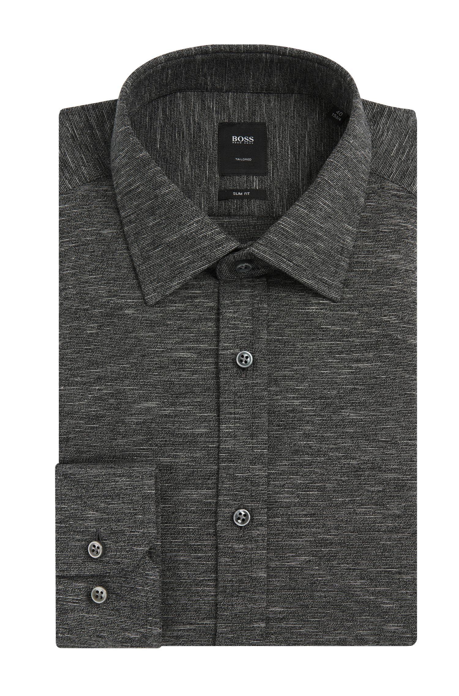Meliertes Slim-Fit Tailored Hemd aus Baumwolle: 'T-Shane'