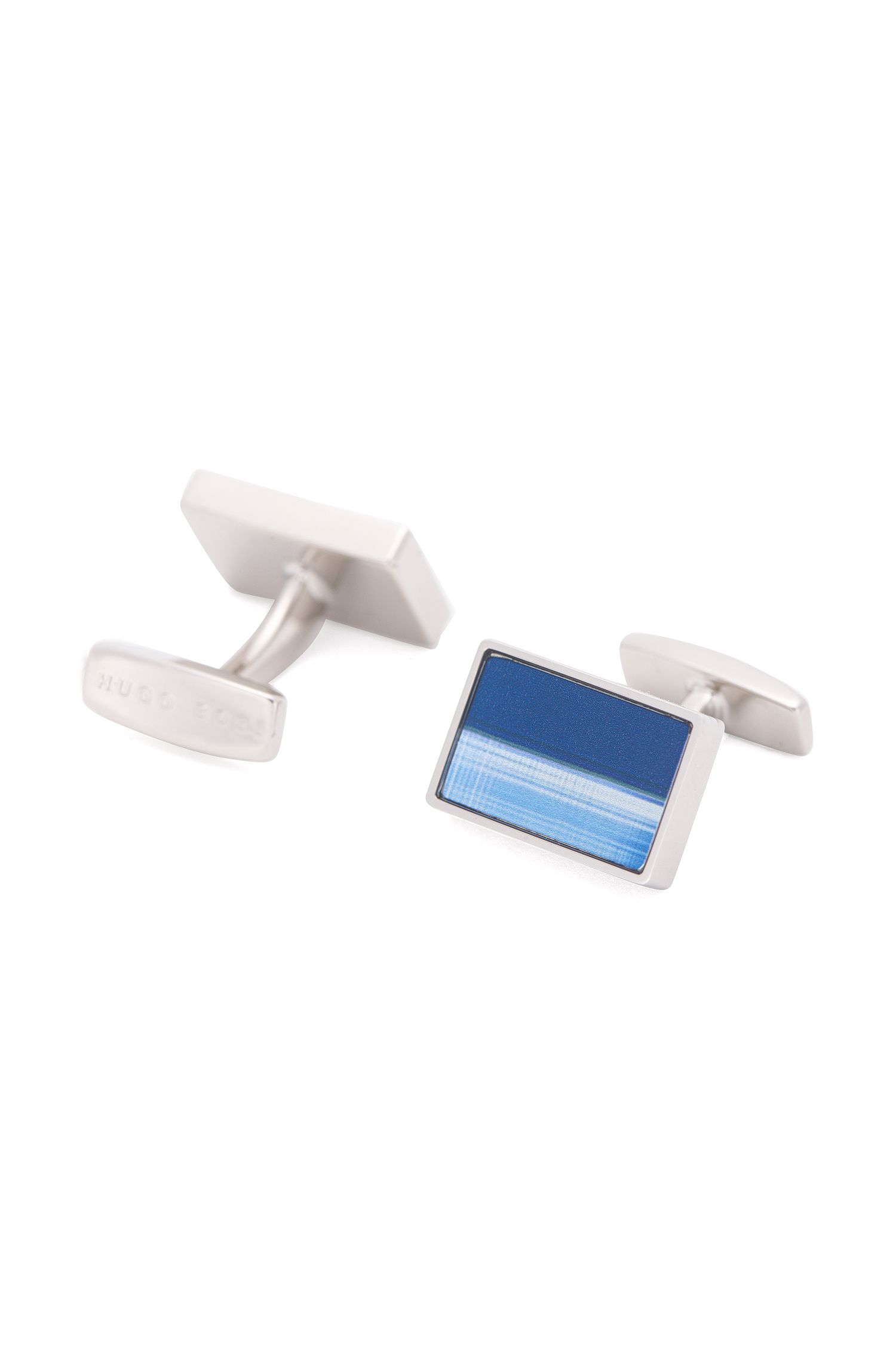 Cufflinks in brass with abstract print: 'Ross'