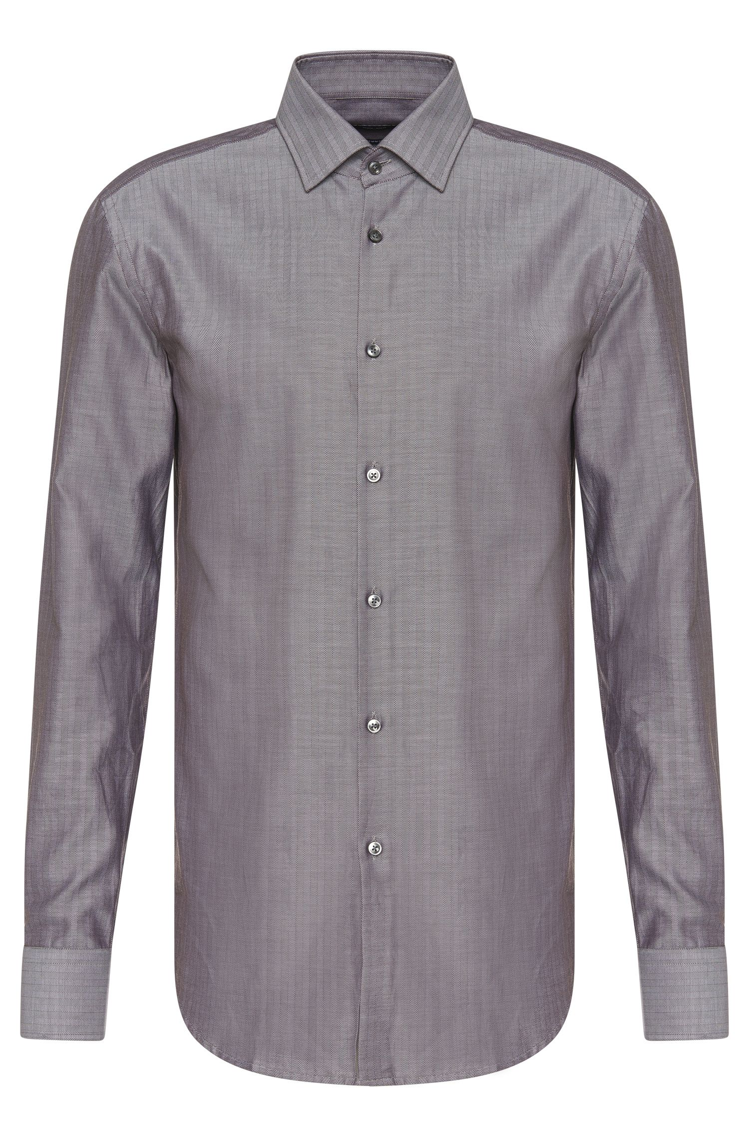 Slim-Fit Hemd aus reiner Baumwolle mit Fischgrät-Muster: 'Jenno'