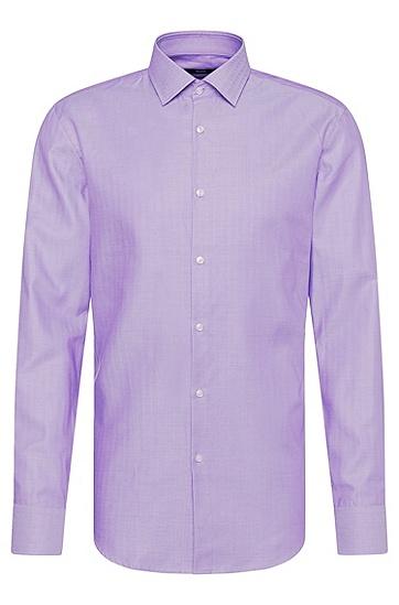 Slim-Fit Hemd aus reiner Baumwolle mit Fischgrät-Muster: 'Jenno', Lila