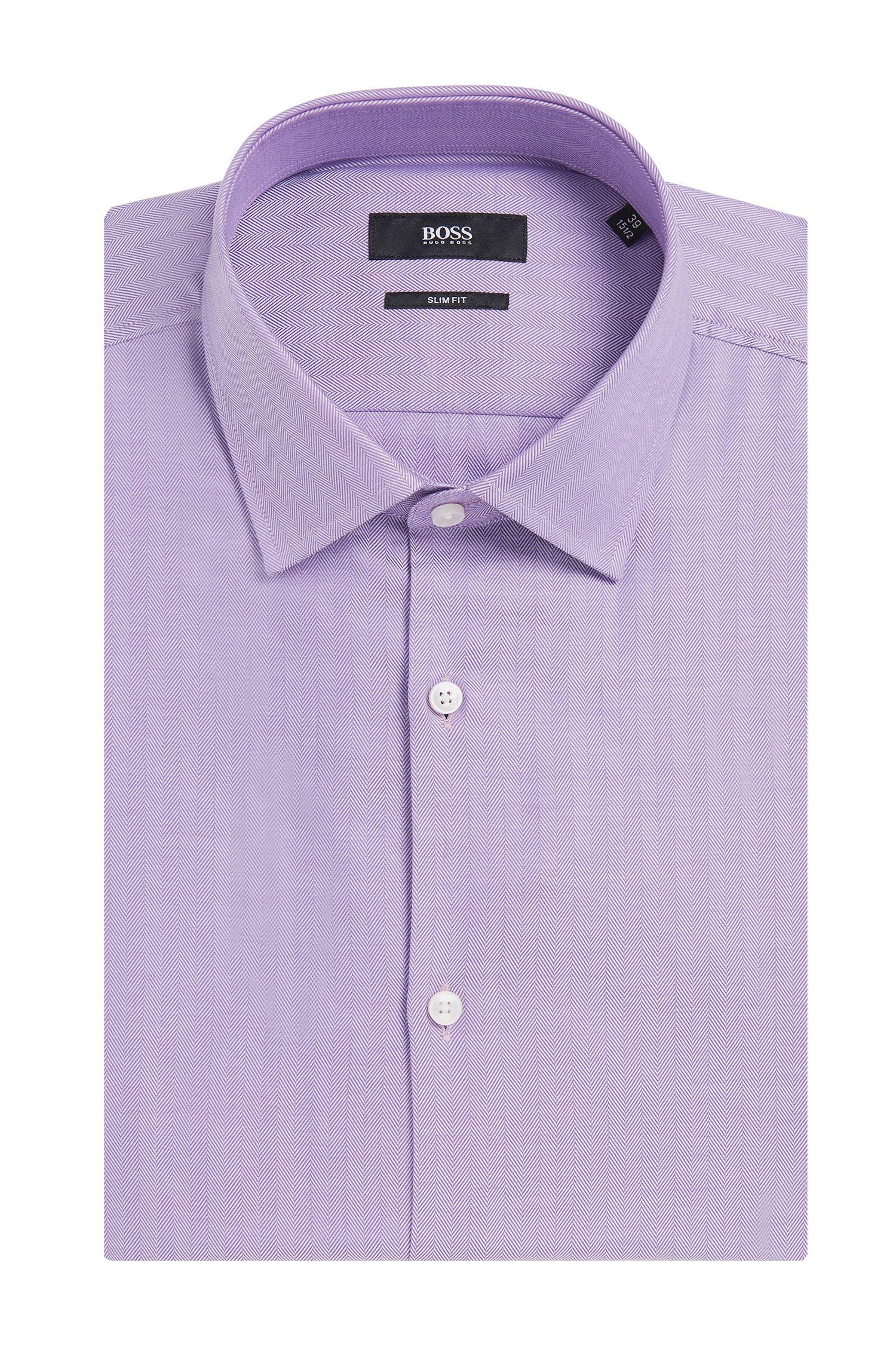 Chemise Slim Fit en pur coton, à motif à chevrons: «Jenno»