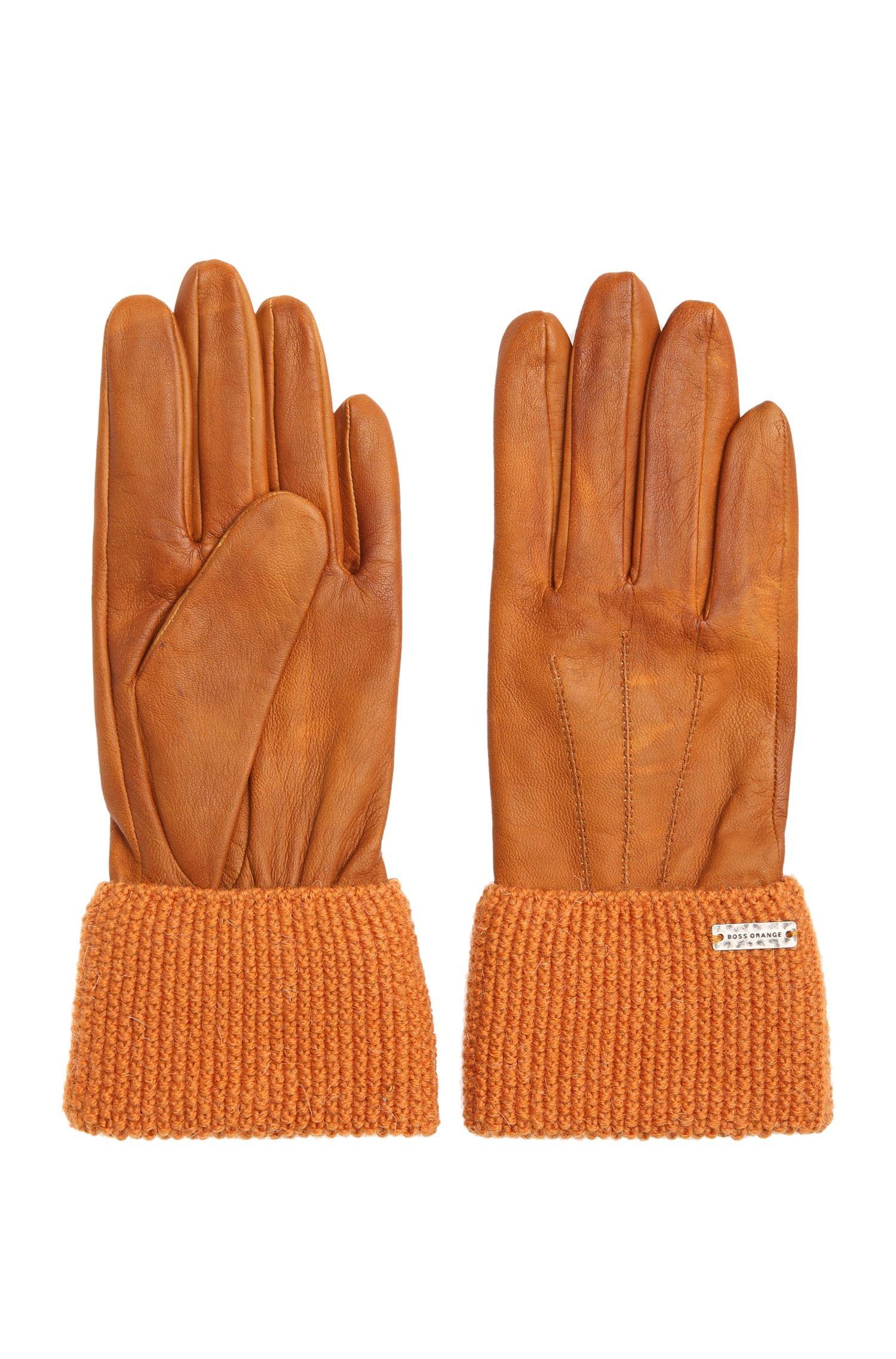 Gants en cuir avec poignets en maille: «Gundy»
