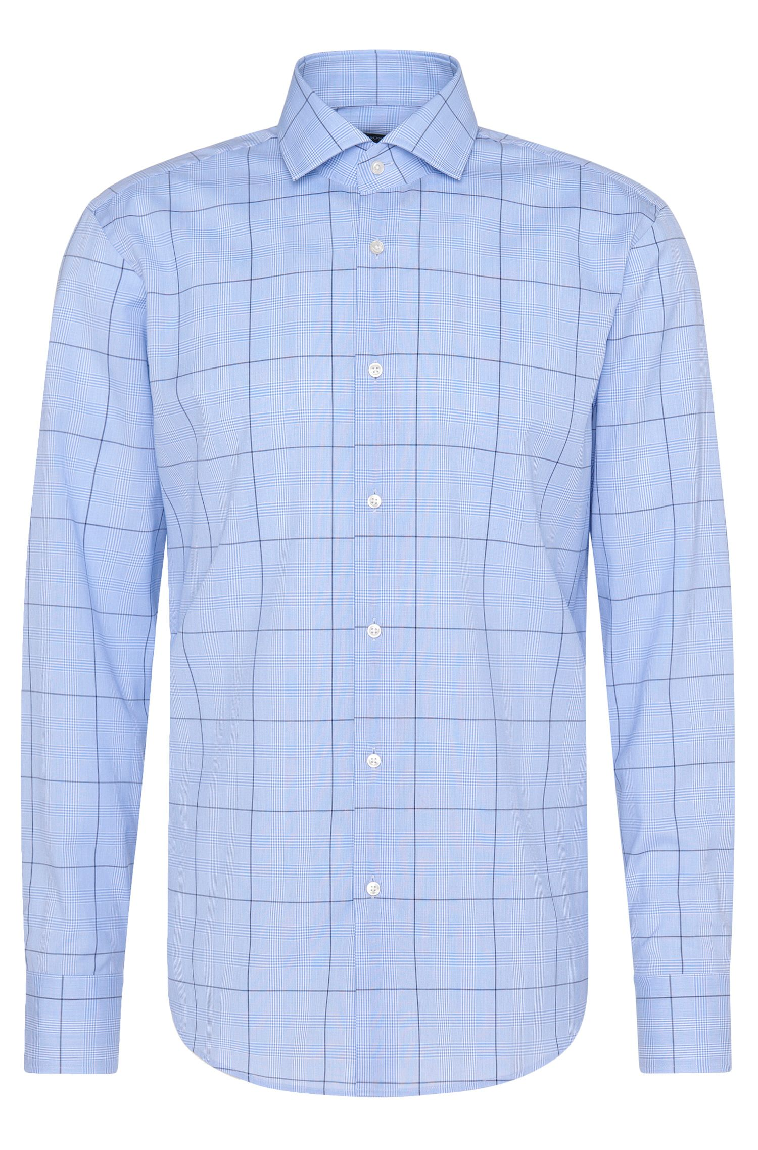 Checked regular-fit shirt in pure cotton: 'Gordon'