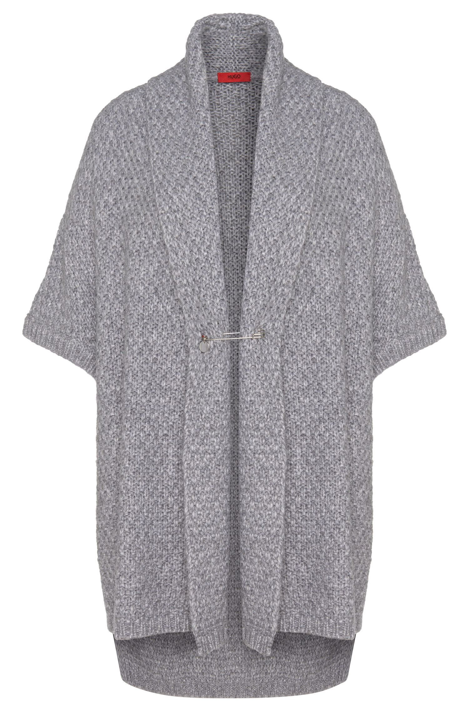 Short-sleeved cardigan with shawl collar with wool and alpaca: 'Sueanne'