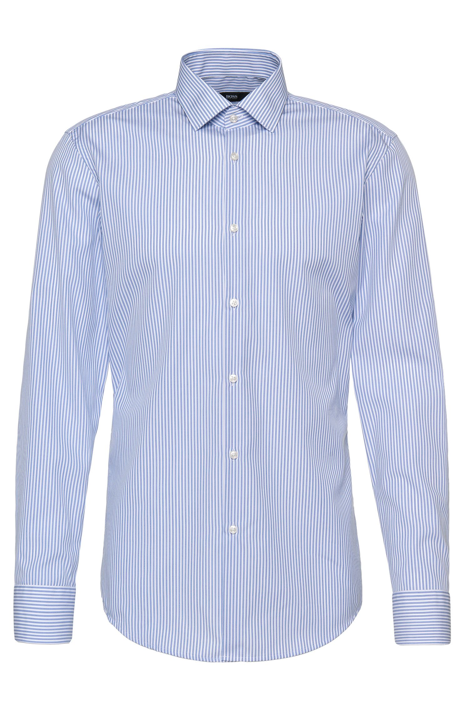 Camicia slim fit a righe in cotone stiro facile: 'Jenno'