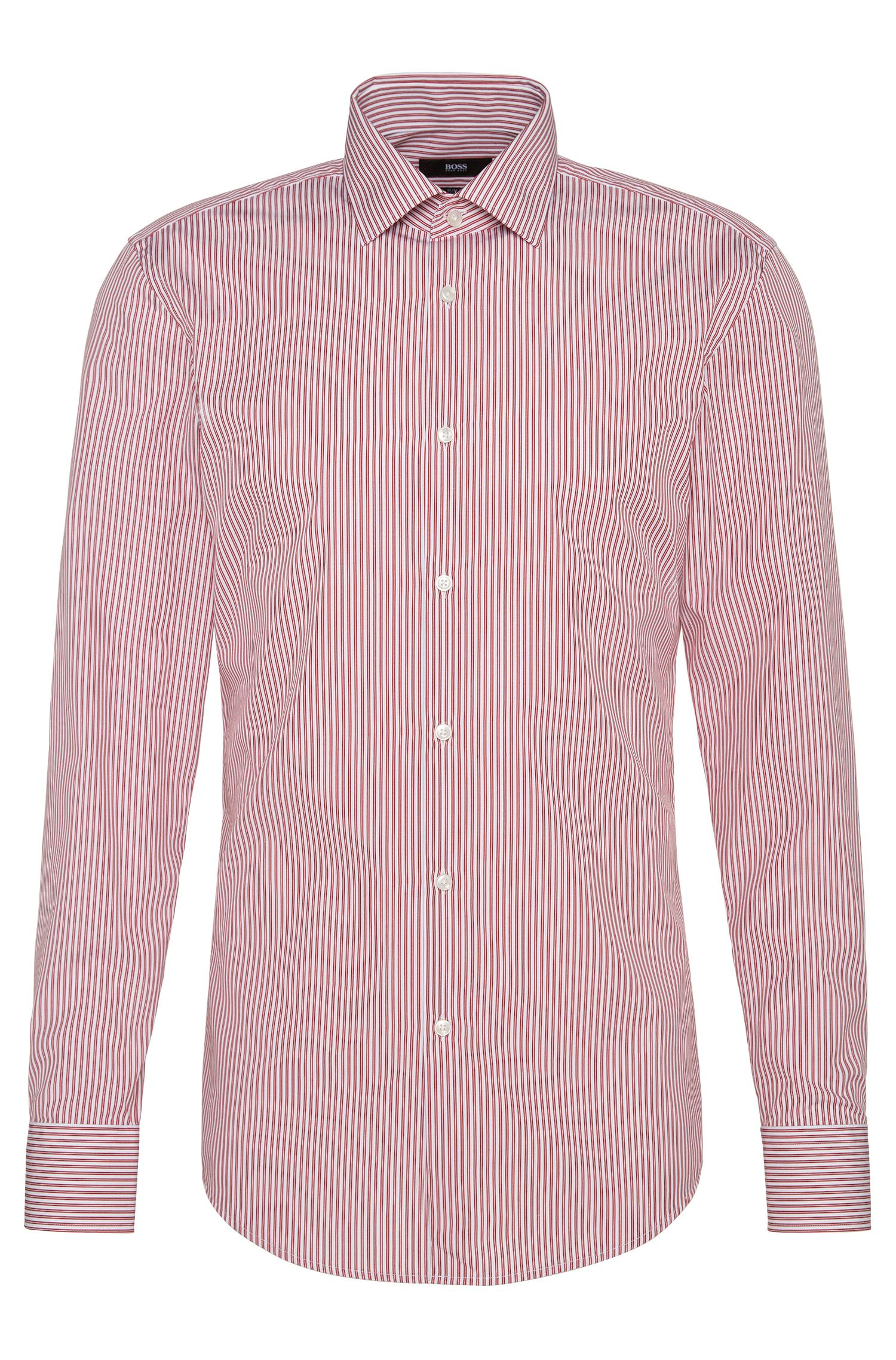Striped slim-fit shirt in easy-iron cotton: 'Jenno'