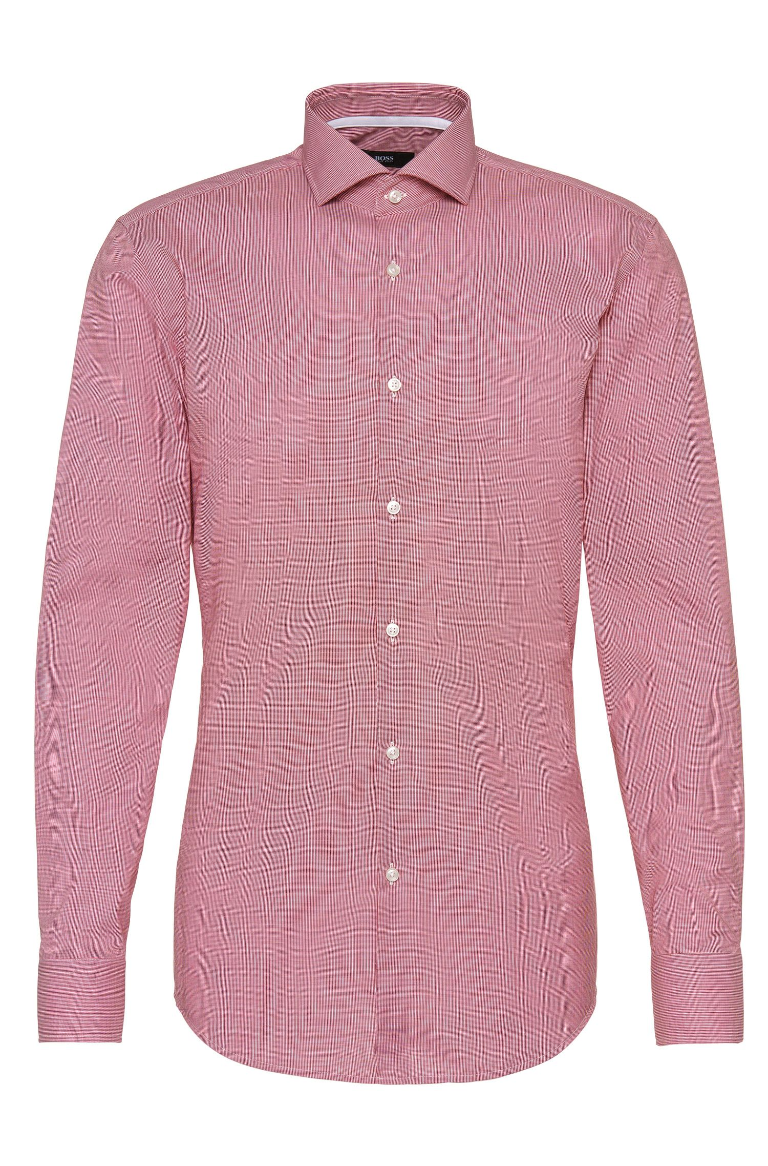 Patterned slim-fit shirt in cotton: 'Jery'