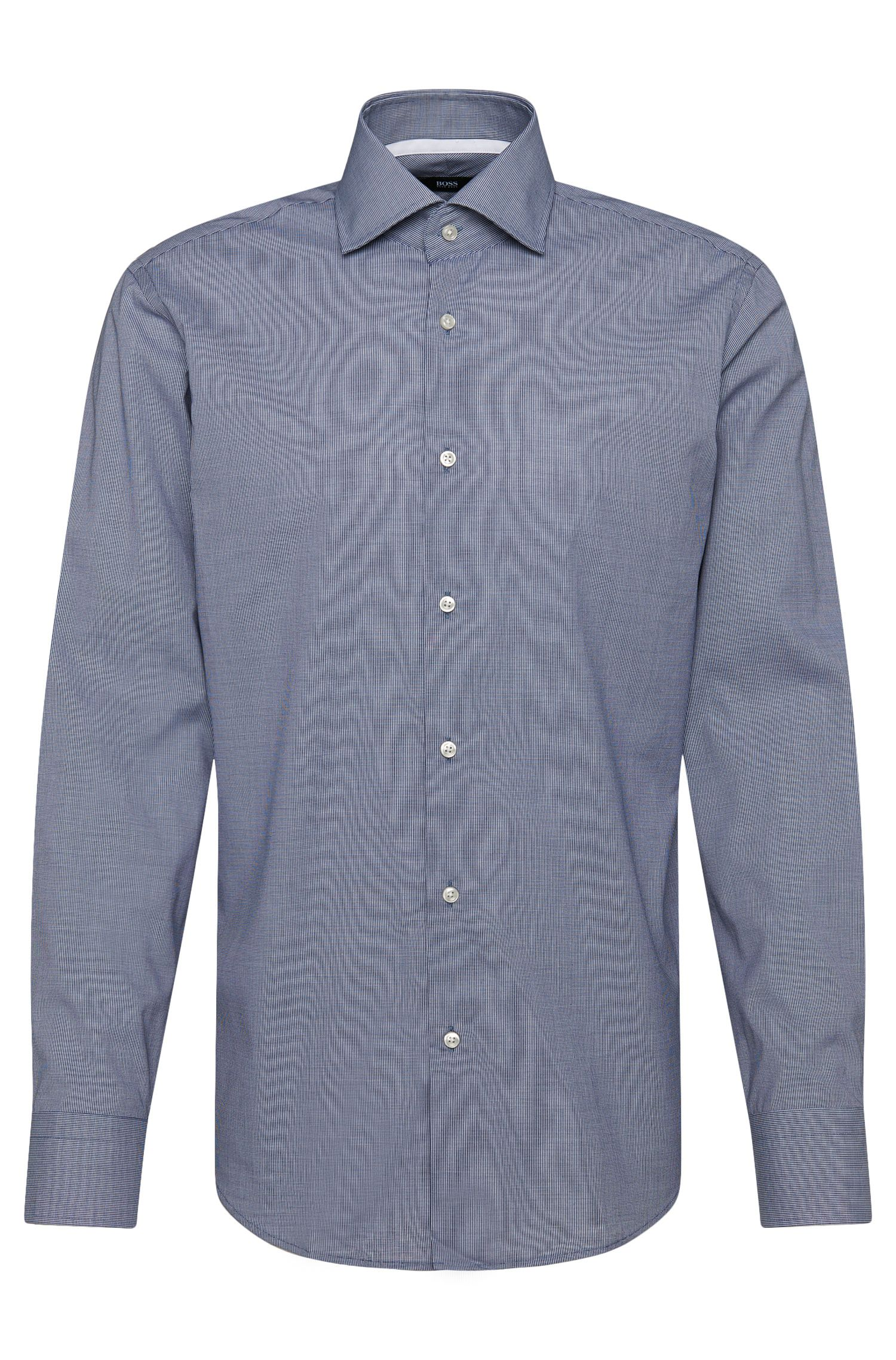 Regular-fit shirt in cotton with contrasting cuff facings: 'Gregory'