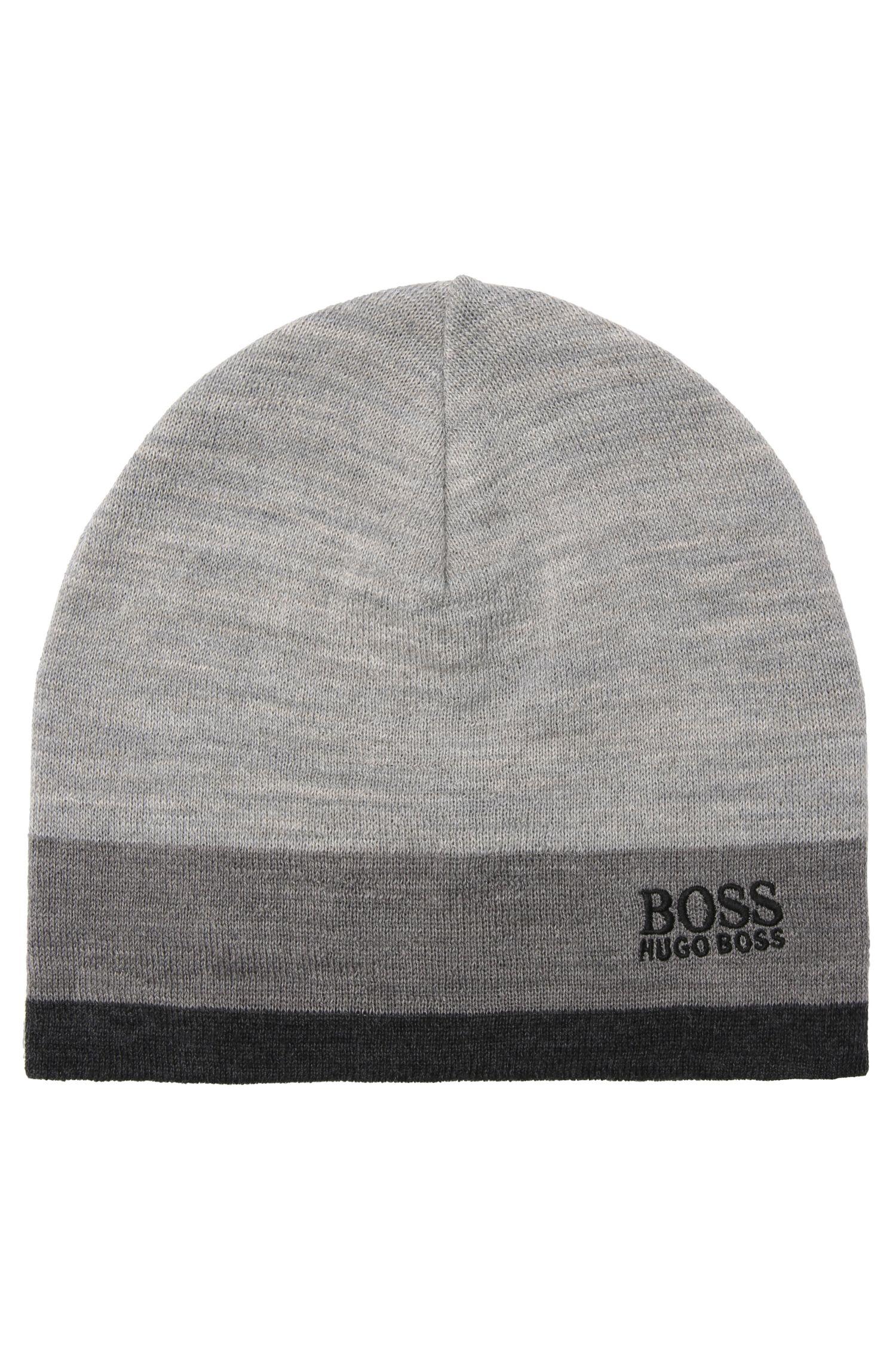 Feinstrick-Mütze aus Woll-Mix mit Logo-Stickerei: ´Ciny`
