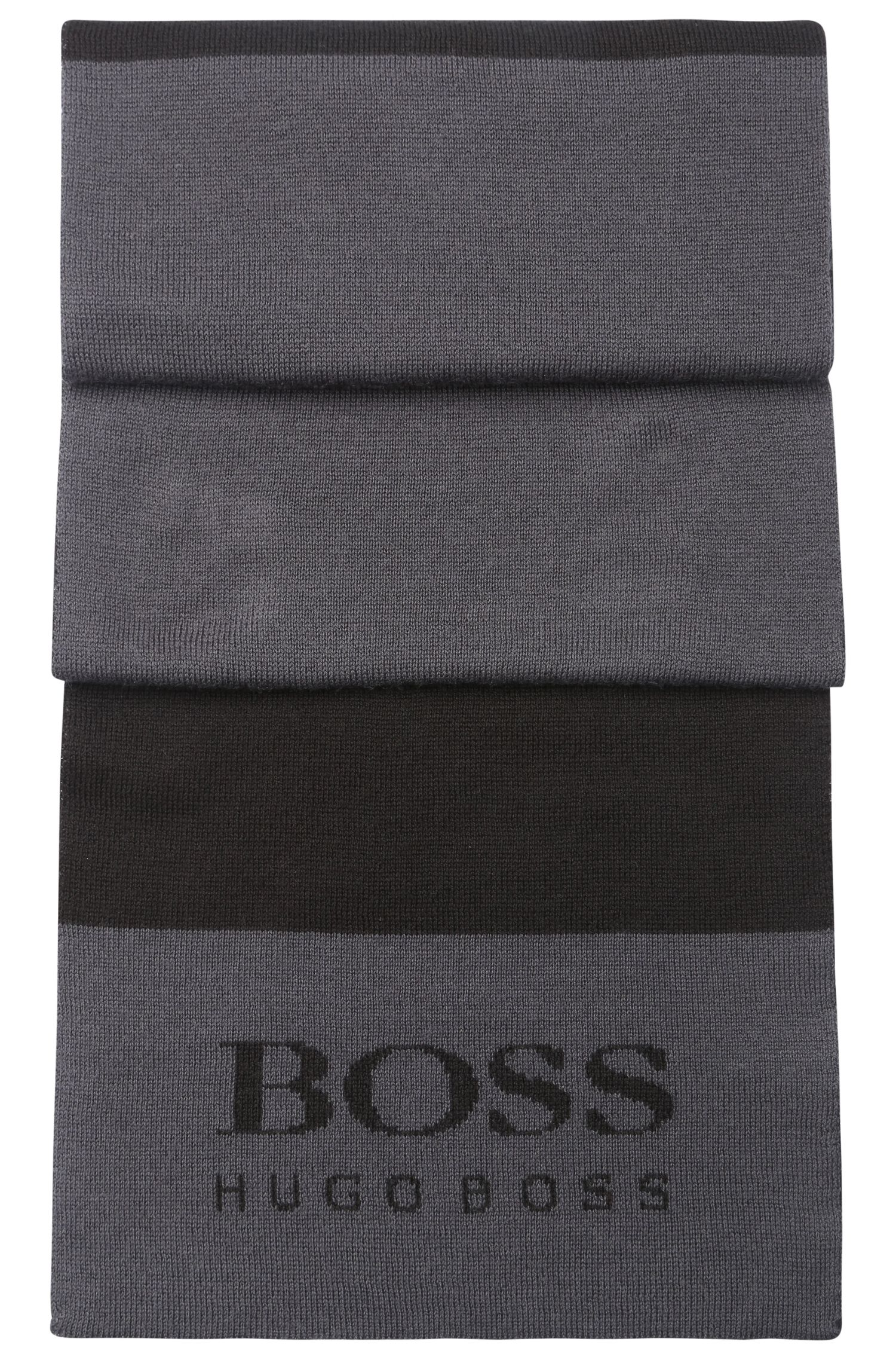 Fijngebreide sjaal van een wolmix met logo: 'Scarf'