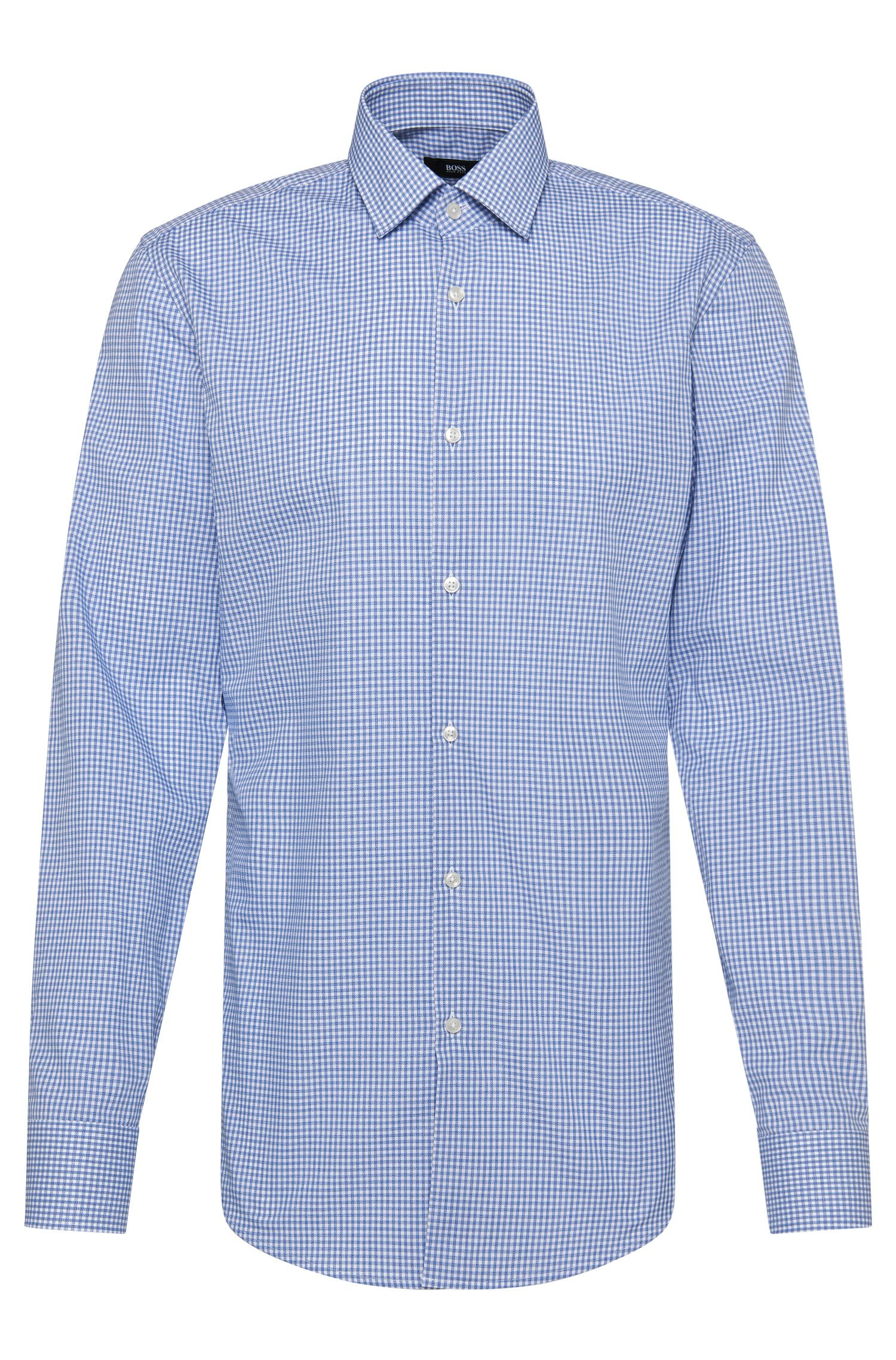 Checked slim-fit shirt in cotton: 'Jenno'