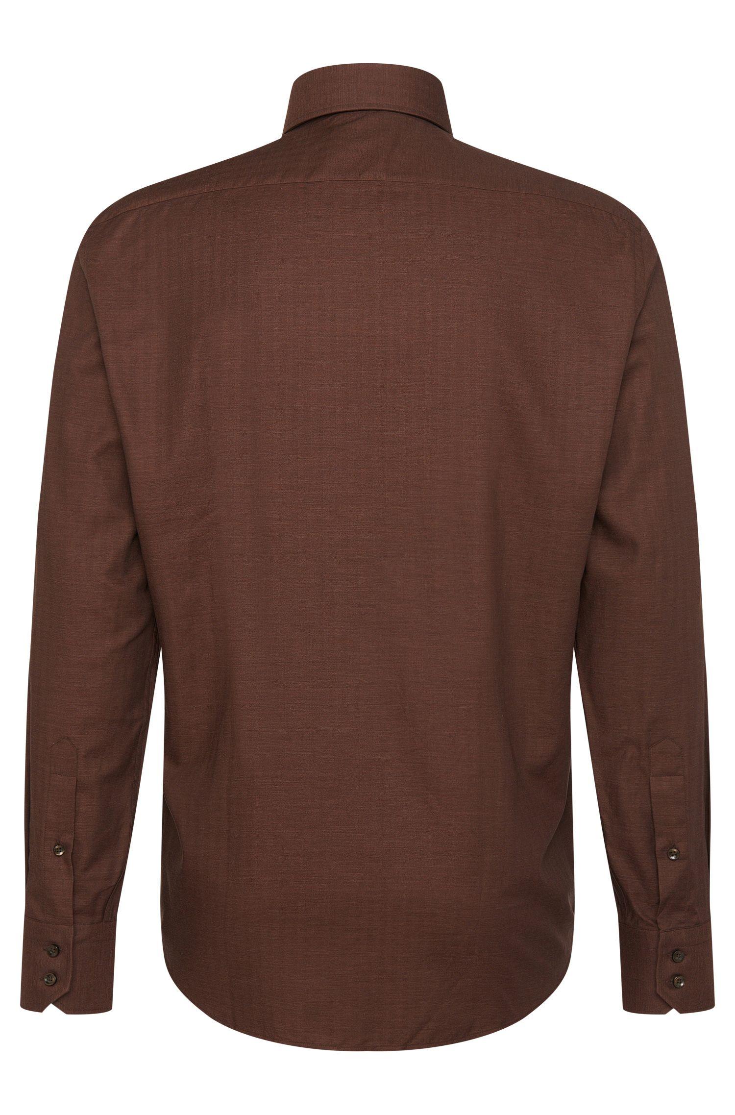 Fijngestructureerd regular-fit overhemd katoen: 'Enzo'
