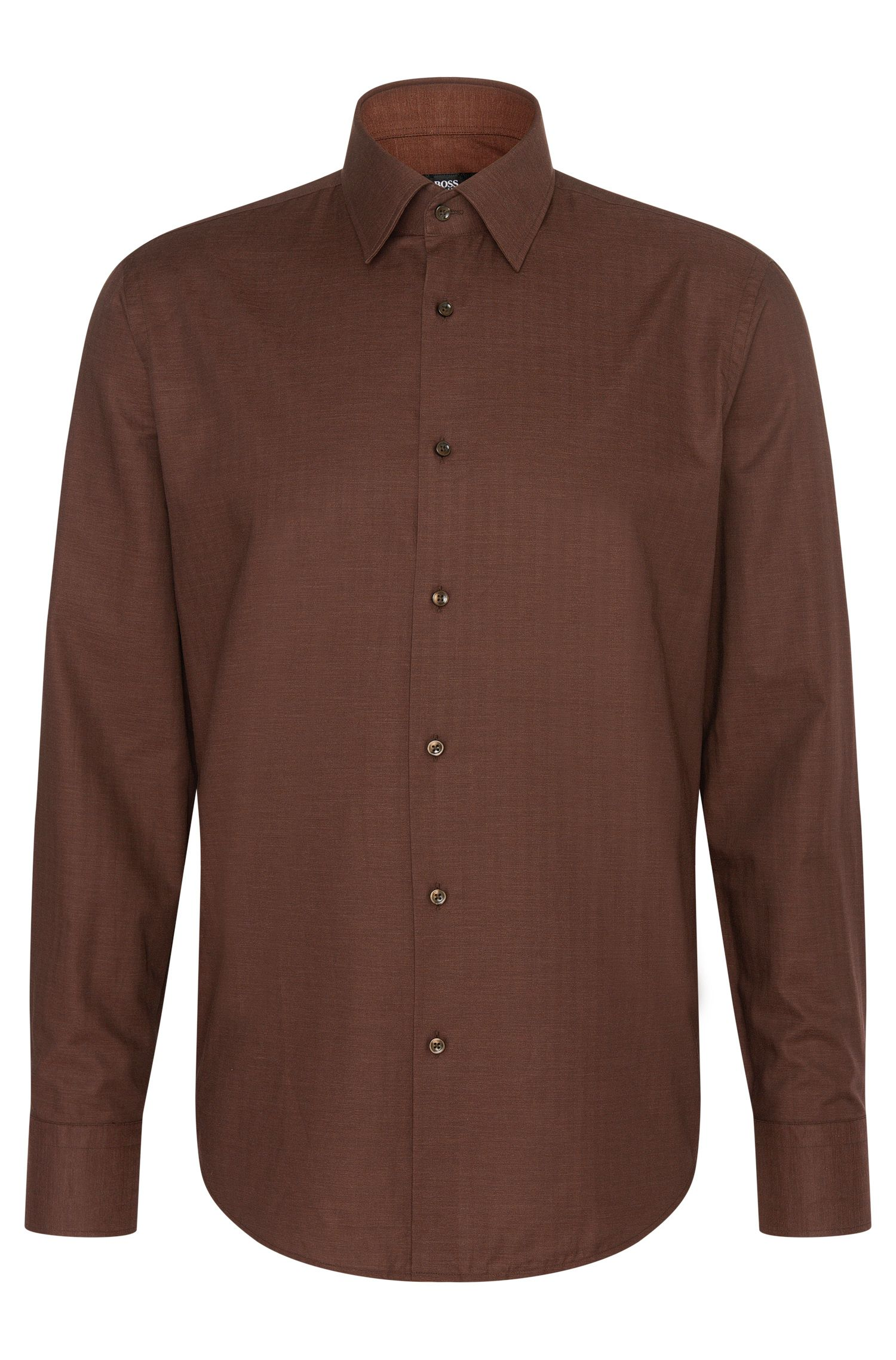 Finely textured regular-fit shirt in cotton: 'Enzo'