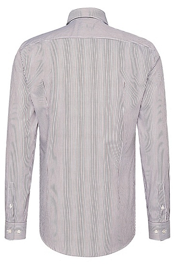 Gestreiftes Slim-Fit Hemd aus Baumwolle: 'Ismar', Braun
