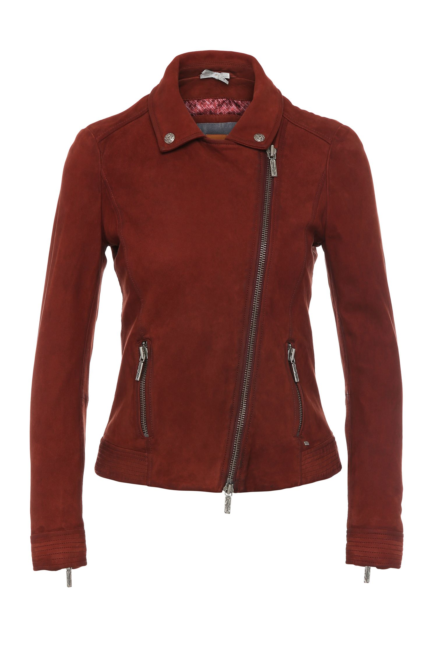 Narrow-cut biker-style leather jacket: 'Jamela'