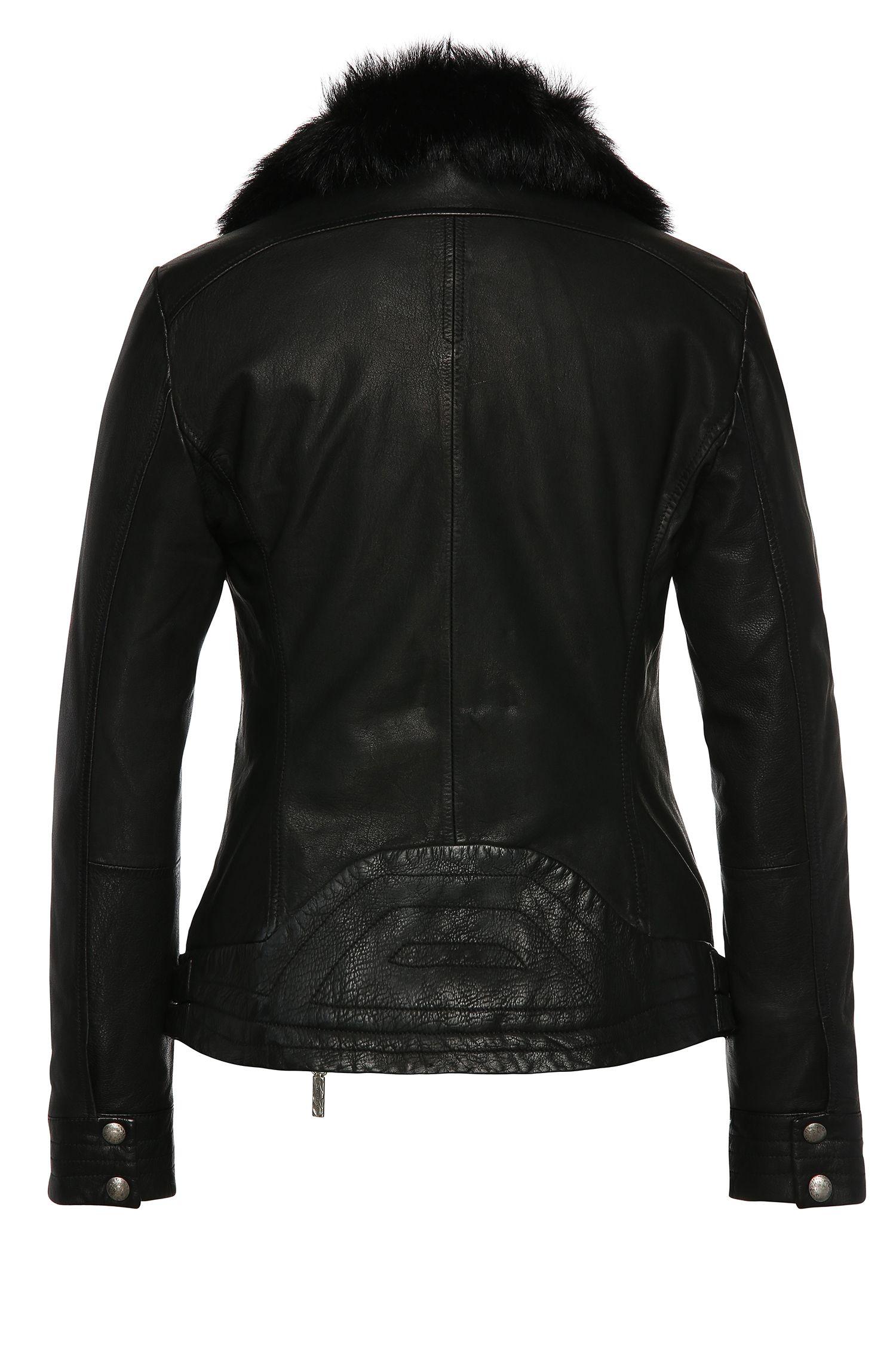 Leren jas in bikerstijl met afneembaar garneersel van lamsvel aan de kraag: 'Japaddi'