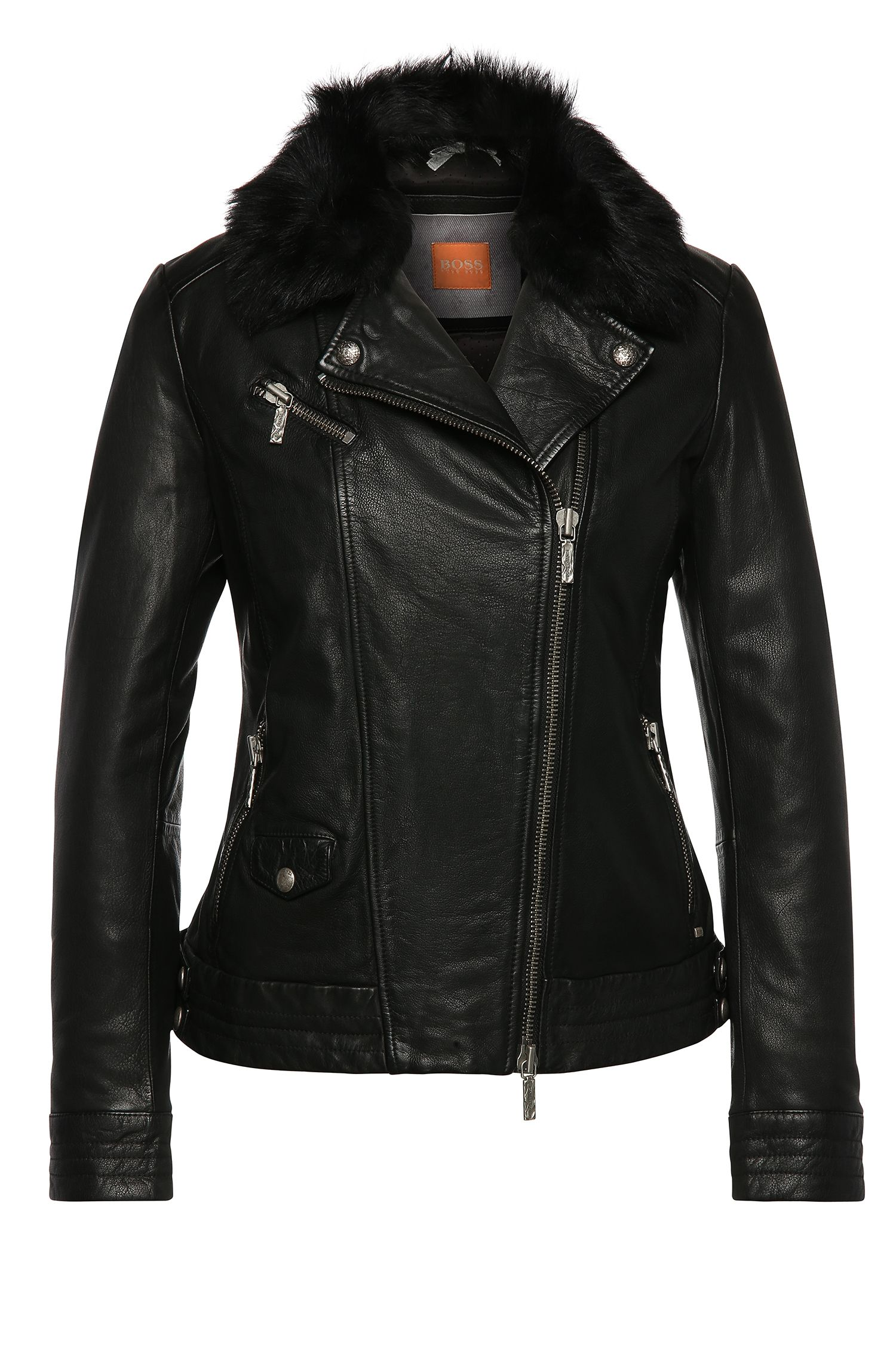 Biker-style leather jacket with detachable lambskin trim on the collar: 'Japaddi'