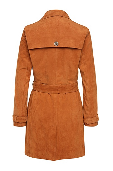 Regular-Fit Trenchcoat aus Veloursleder: ´Josea`, Hellbraun