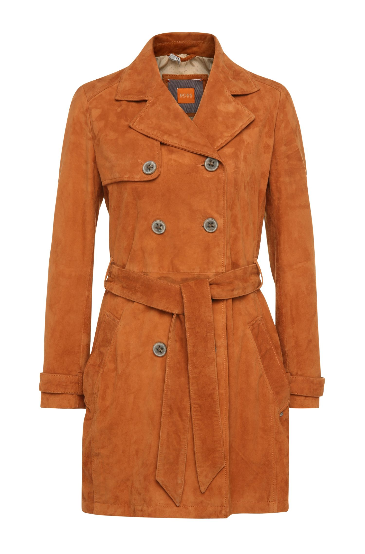 Regular-Fit Trenchcoat aus Veloursleder: ´Josea`