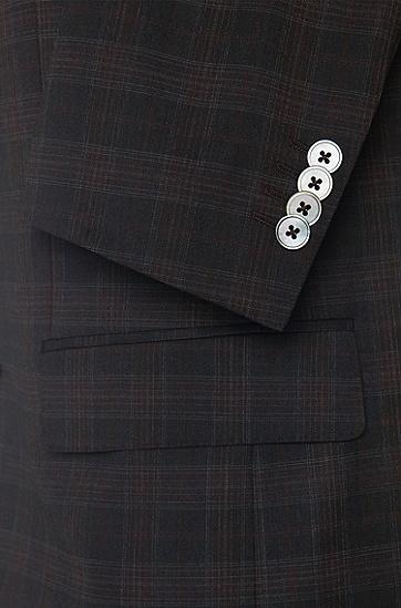 Karierter Slim-Fit Anzug aus reiner Schurwolle: 'Hutson3/Gander1', Dunkelbraun