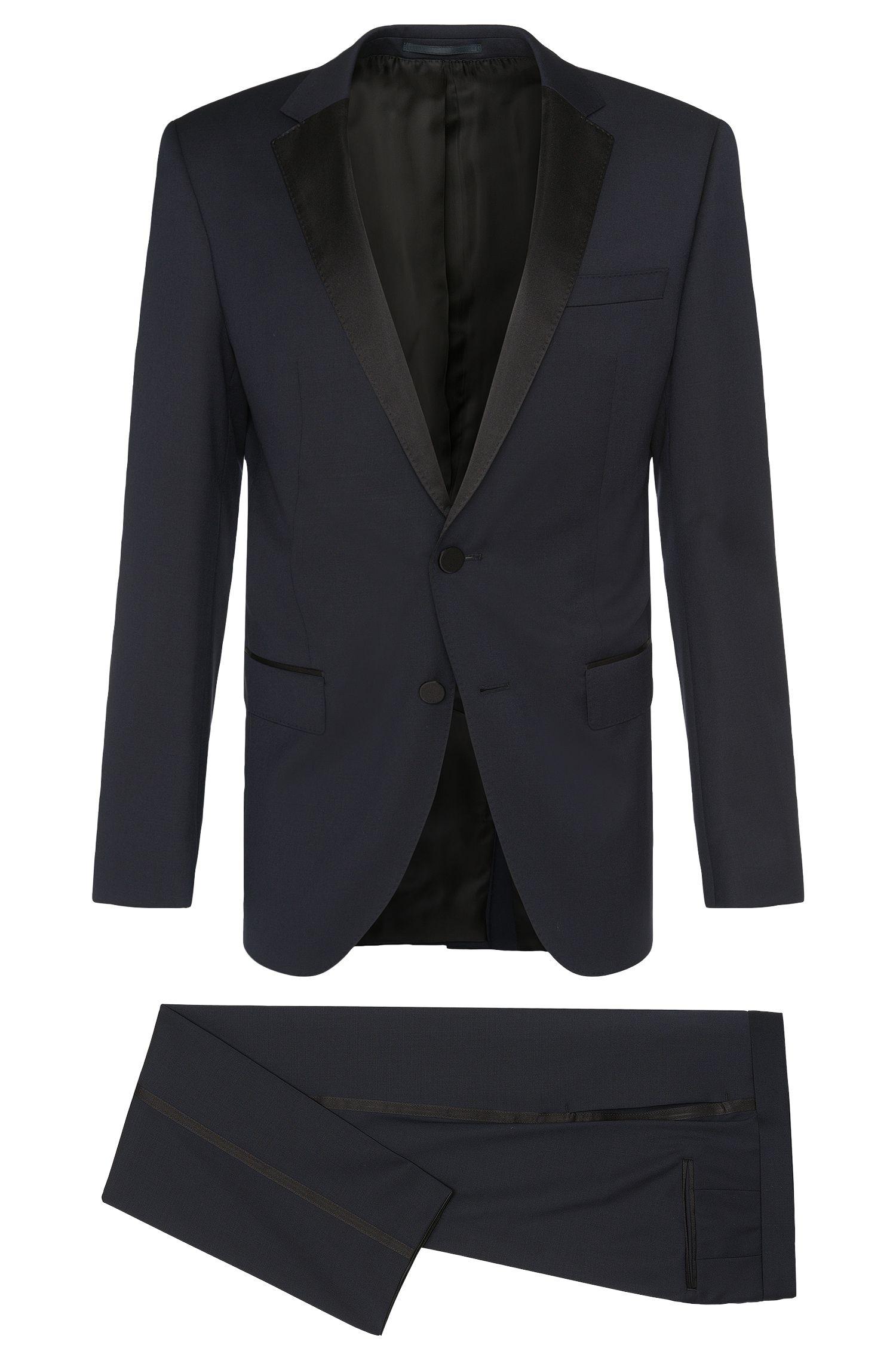 Slim-fit kostuum van scheerwol met zijdepassement: 'Haakon/Grady'
