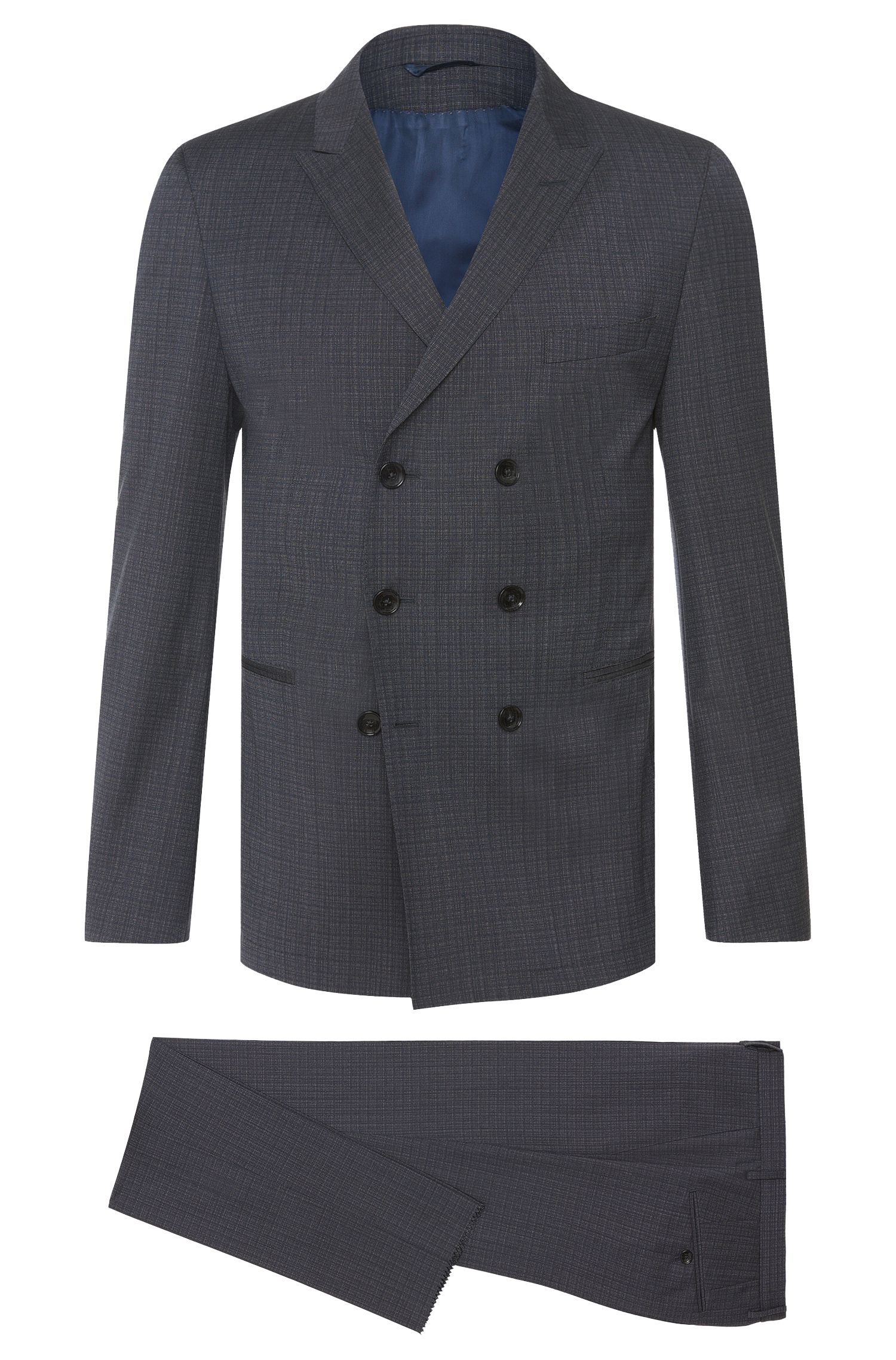 Slim-fit Tailored suit in new wool with double-breasted jacket: 'T-Noan/Baron'