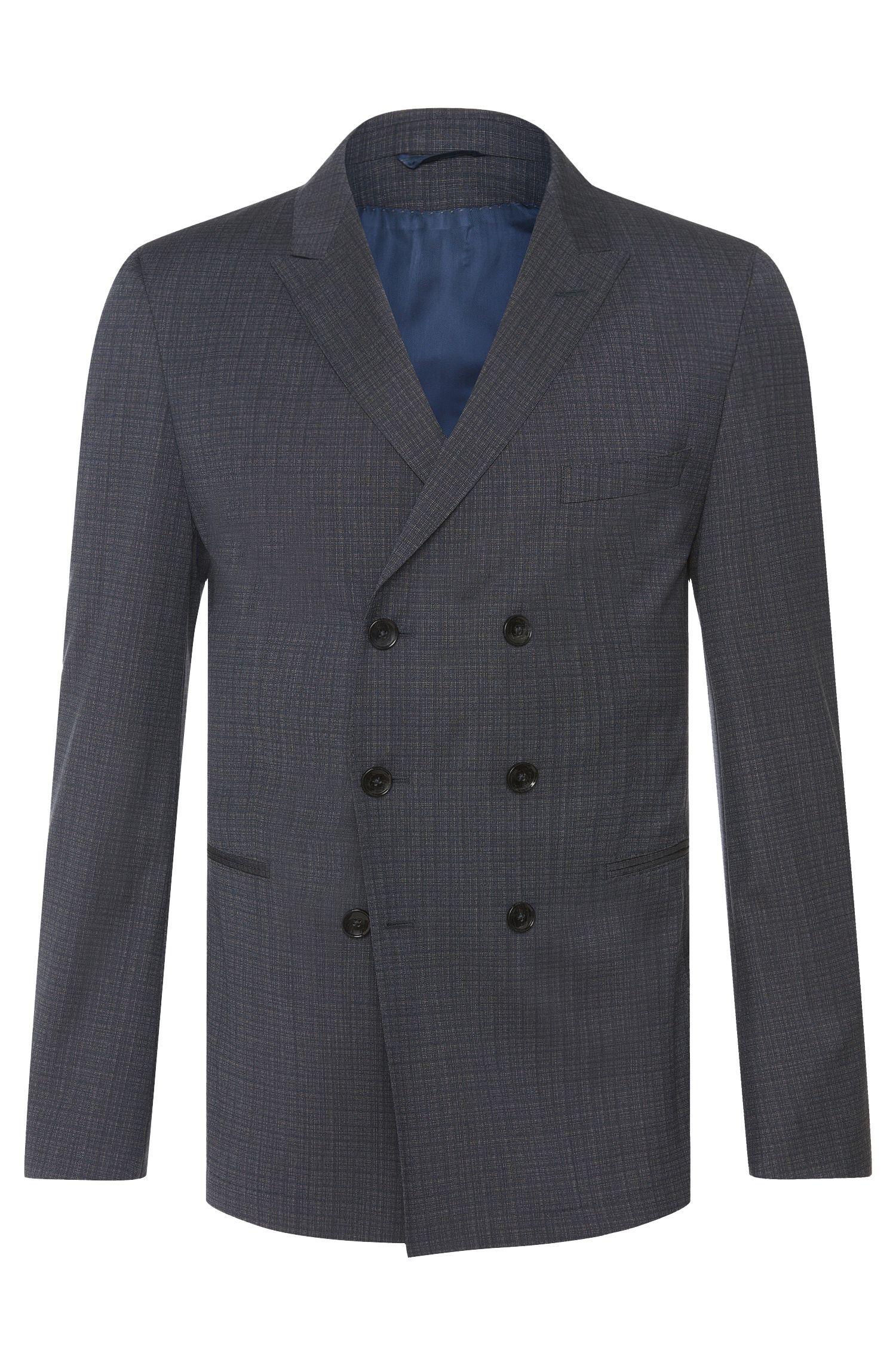 Slim-Fit Tailored Anzug aus Schurwolle mit zweireihigem Sakko: 'T-Noan/Baron'