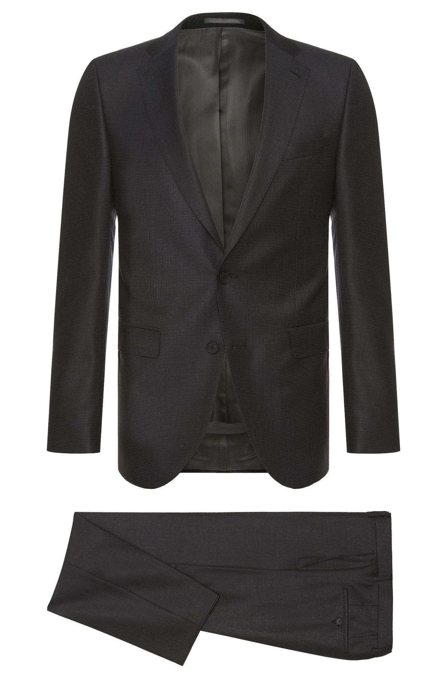 Finely patterned slim-fit suit in new wool: 'Nova3/Ben'