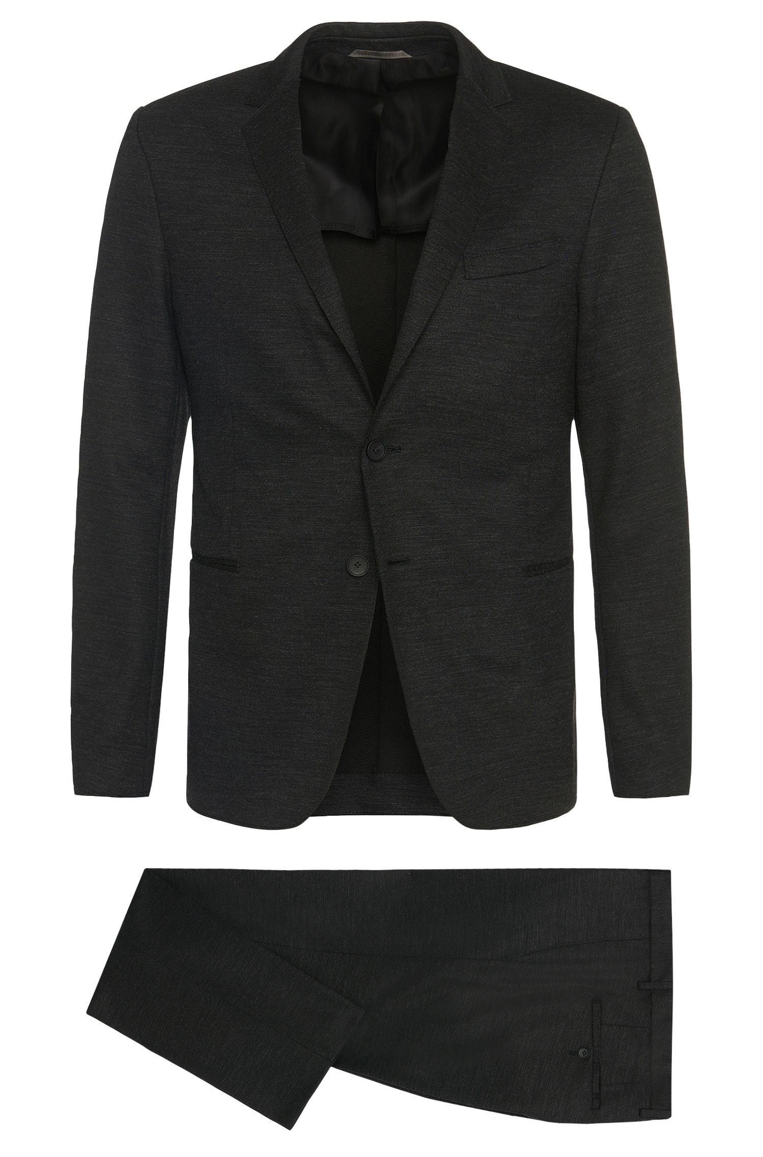 Mottled slim-fit suit in jersey quality: 'Natan/Bruce'