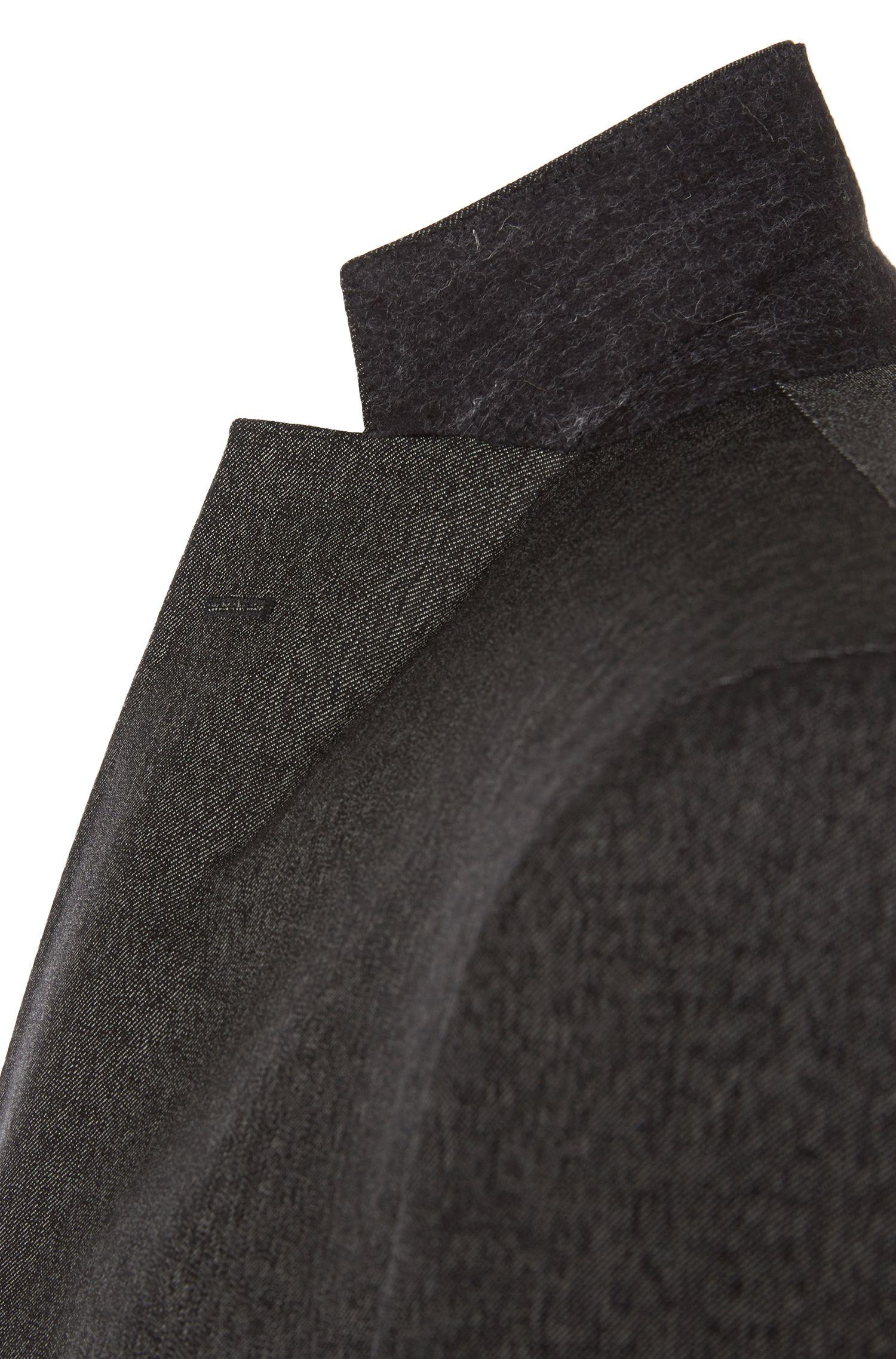 Fijngestreept, extra slim-fit kostuum van scheerwol: 'Reyno2/Wave1'