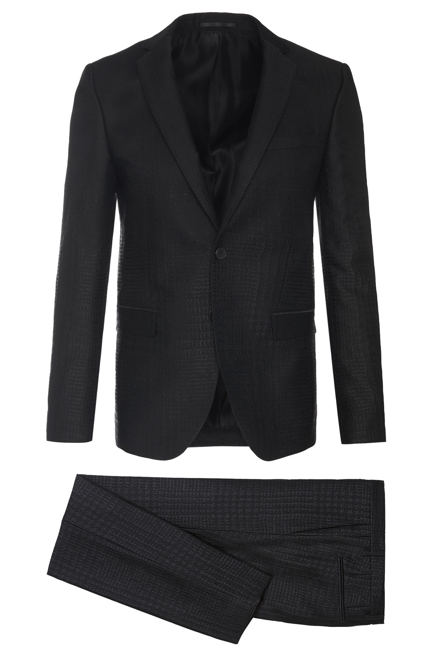 Extra slim-fit suit with integrated textured pattern: 'Rocco1_1/Wyatt'