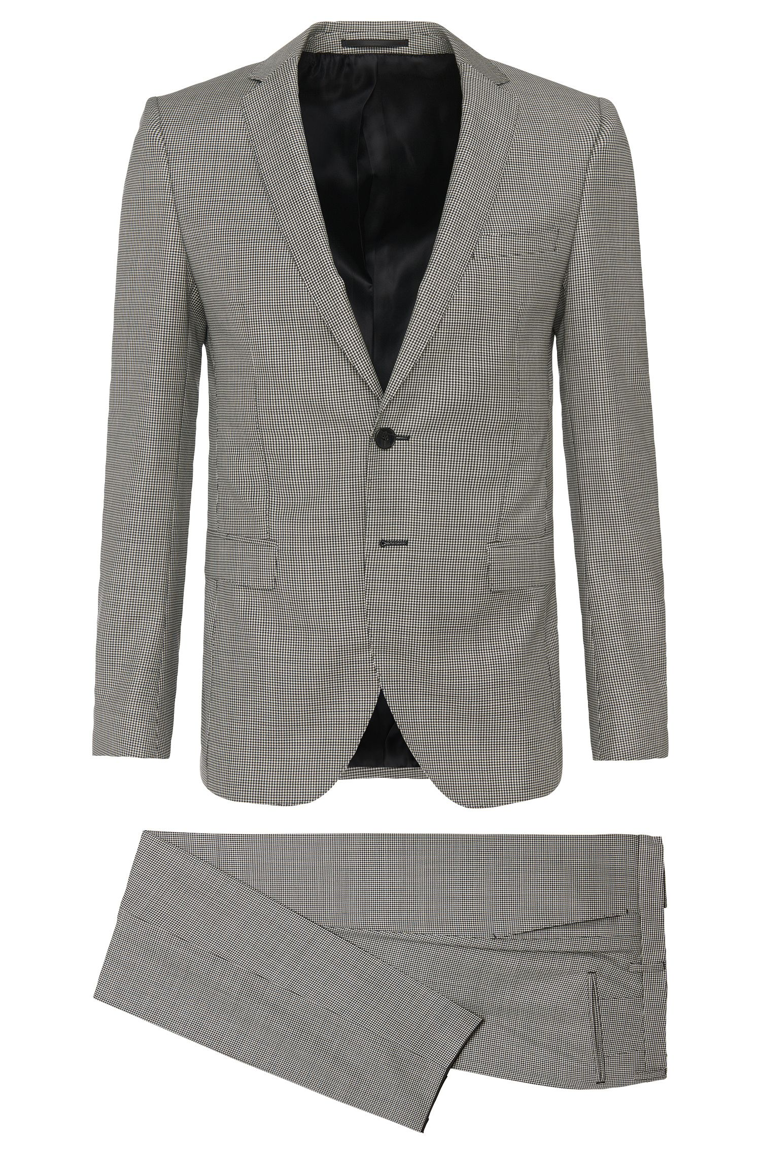 Extra slim-fit suit in new wool with houndstooth pattern: 'Rocco1/Wyatt'