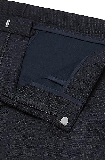 Extra Slim-Fit Anzug aus Schurwolle mit Linien-Muster: Rocco1/Wyatt', Dunkelblau