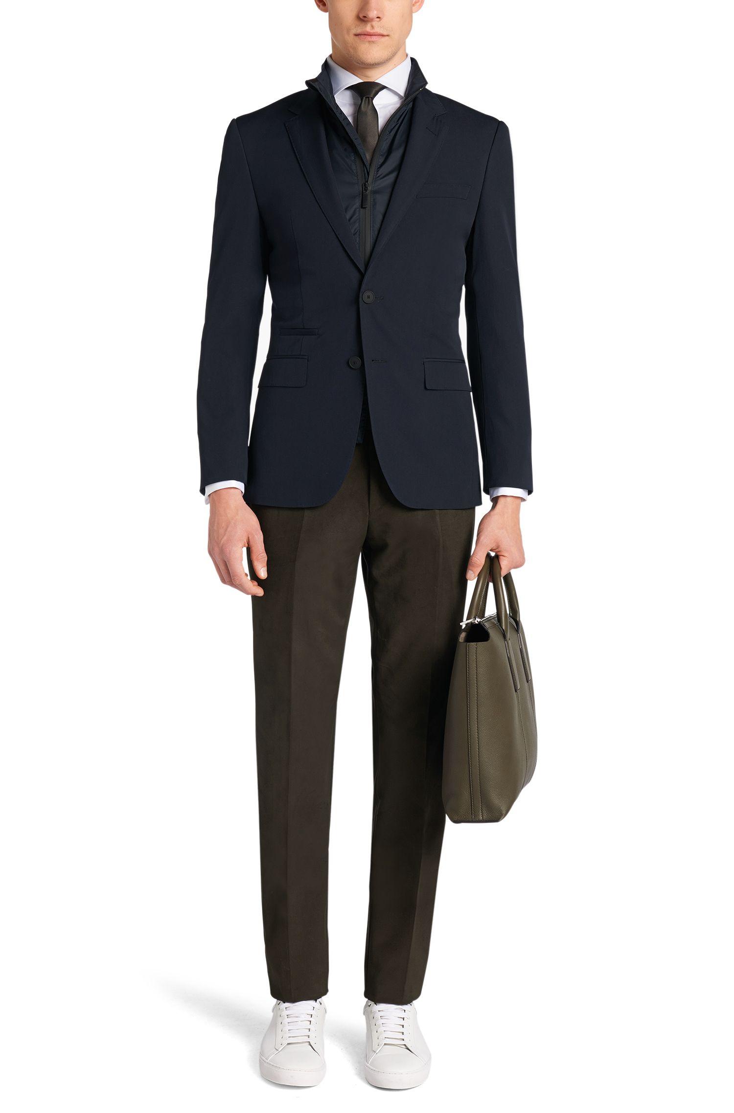 Veste de costume Slim Fit Tailored en laine vierge mélangée avec veste intérieure amovible: «T-Handson»