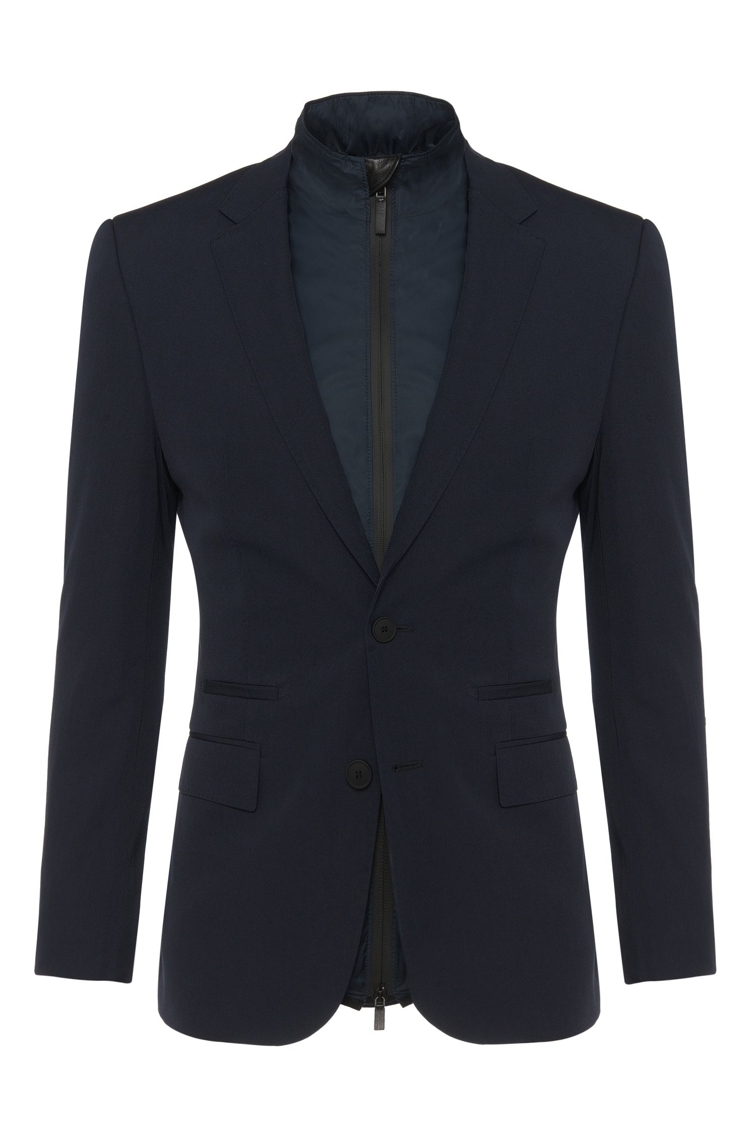 Slim-fit Tailored jacket in new-wool blend with detachable jacket: 'T-Handson'