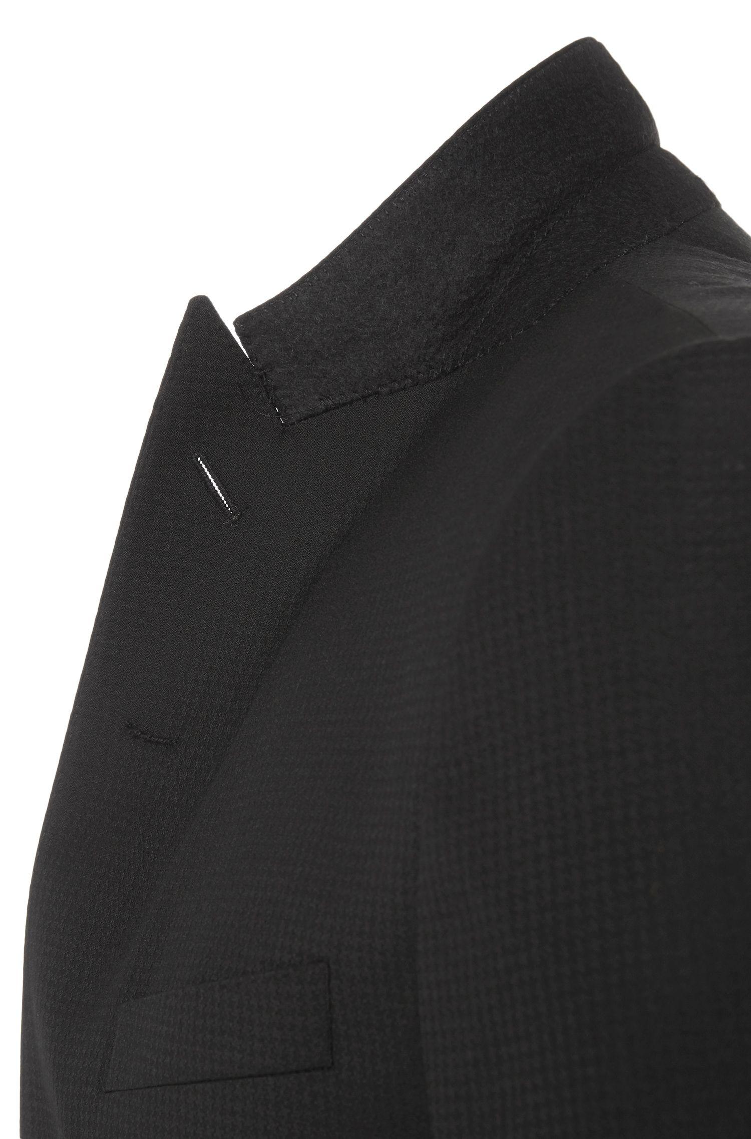 Veste de costume Slim Fit en laine vierge mélangée ornée de détails en soie: «Haimon»