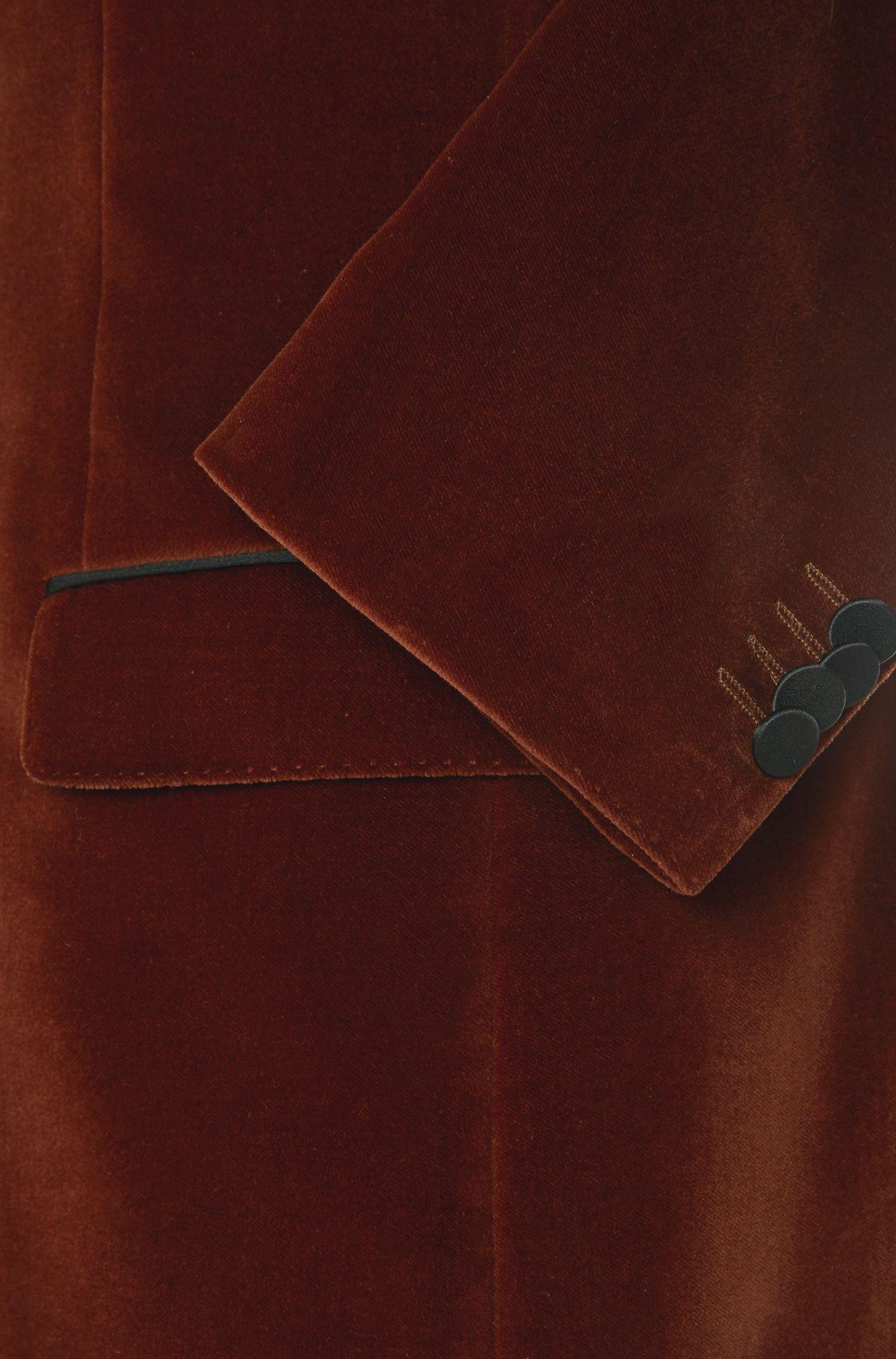 Slim-fit colbert van katoen met details van zijde: 'Haimon'