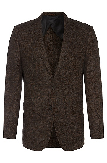 Slim-fit jacket in fabric blend with effect yarn: 'Nobis2', Brown