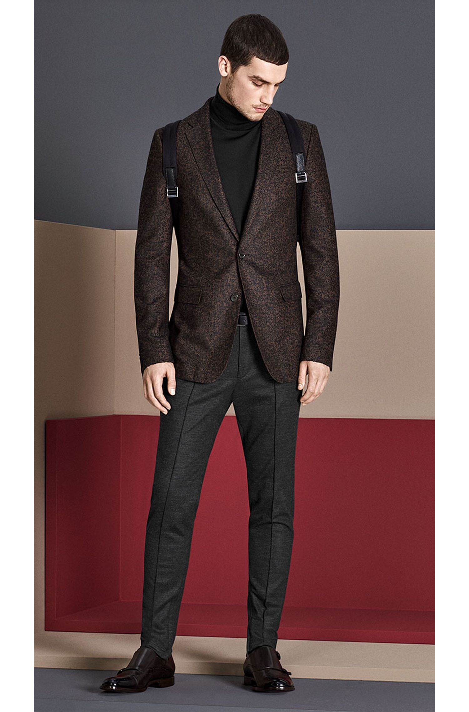 Veste de costume Slim Fit en mélange de matières ornée de fil fantaisie: «Nobis2»
