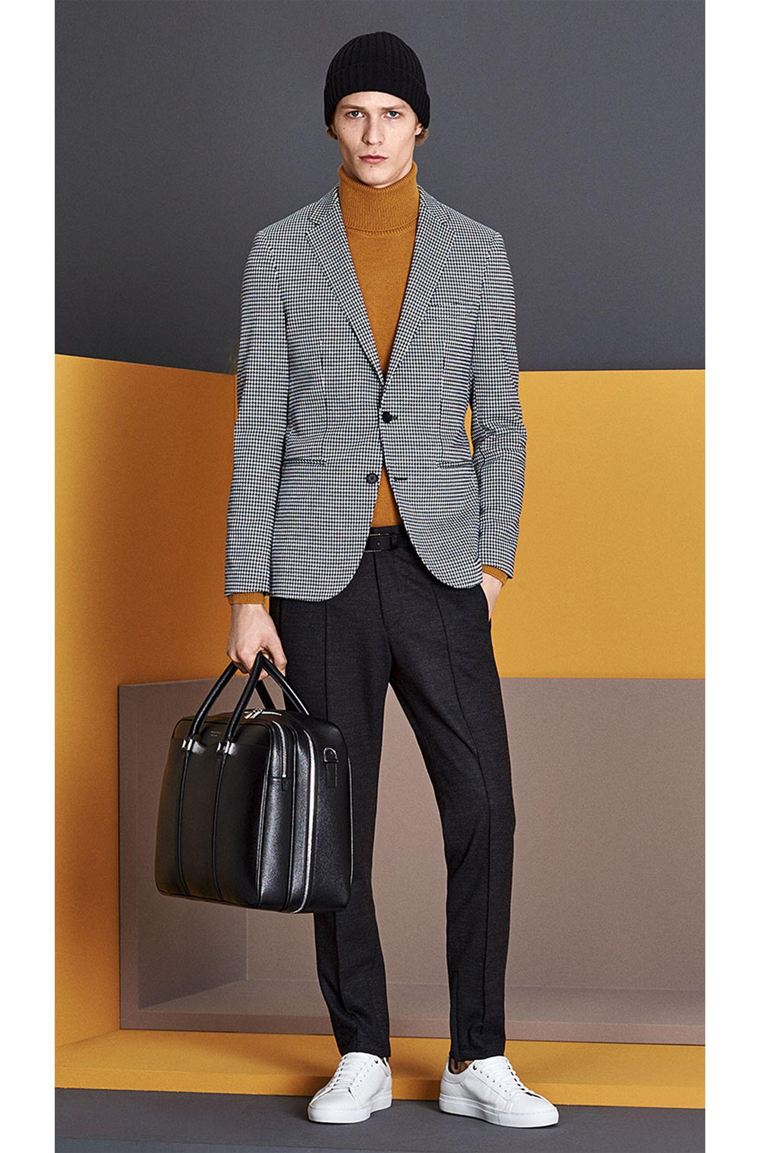 Veste de costume Slim Fit en coton mélangé, à motif pied-de-poule: «Norwin1»
