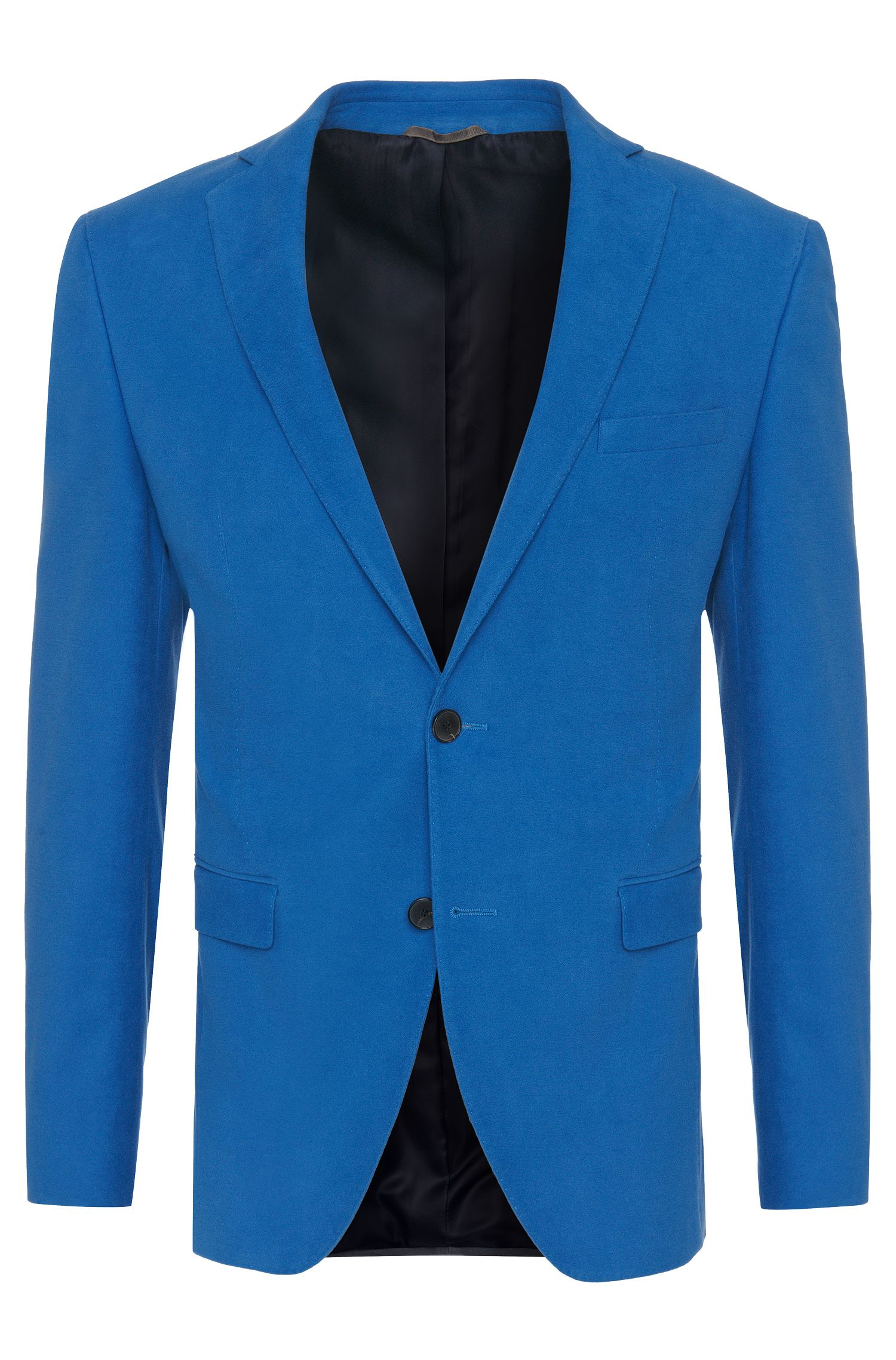 Extra slim-fit jacket in stretch cotton with a velvety feel: 'Ross2'