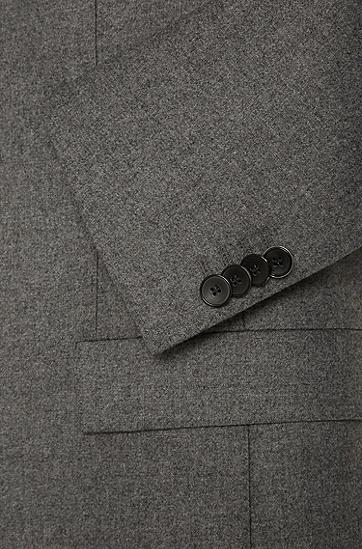 Extra Slim-Fit Sakko aus elastischem Schurwoll-Mix mit Kaschmir: 'Randal', Grau